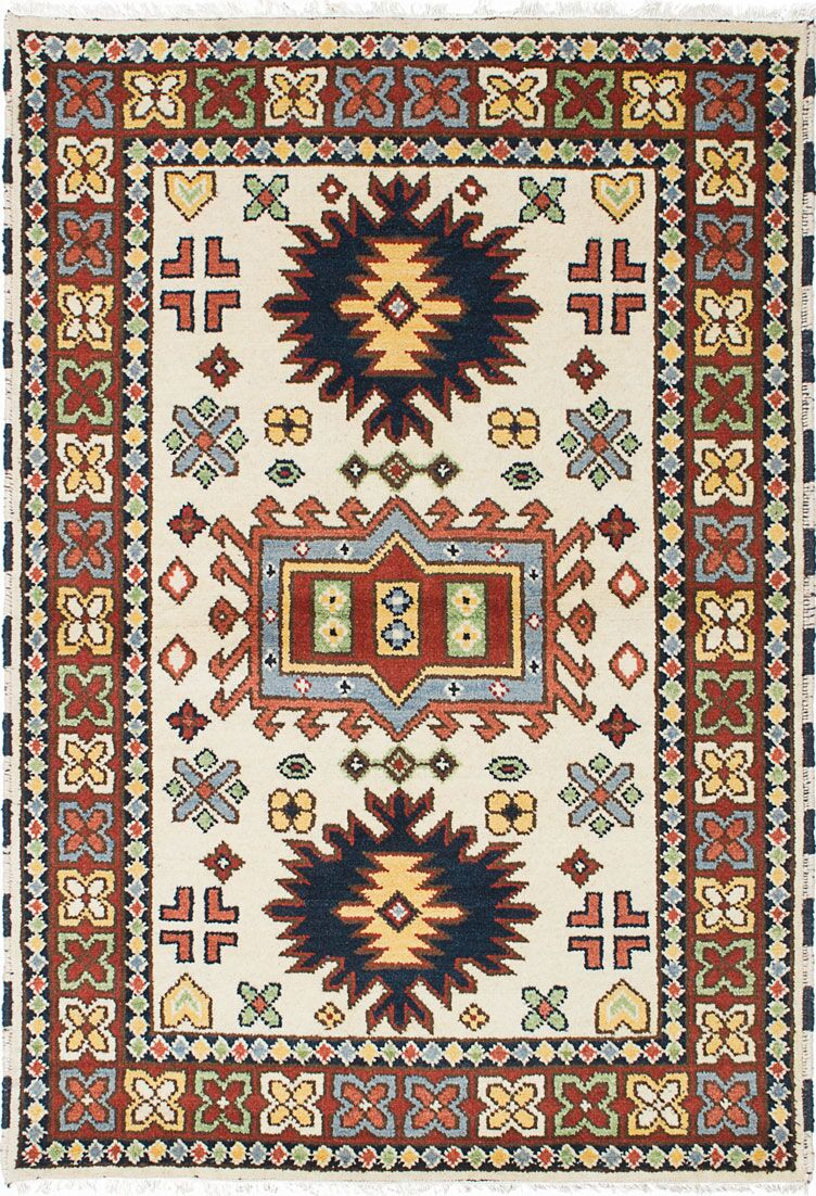 One-of-a-Kind Doering Hand-Knotted Cream/Orange Area Rug