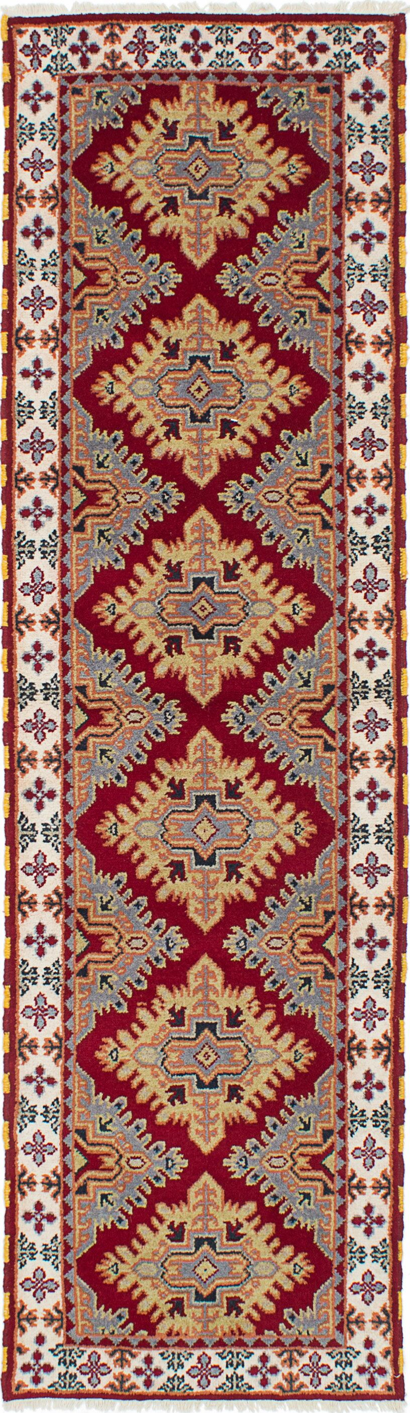 One-of-a-Kind Doering Hand-Knotted Cream/Red Area Rug
