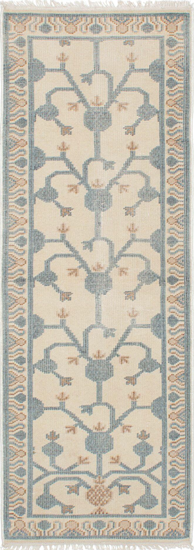 Stonewash Ushak Hand-Woven Cream Area Rug Rug Size: Rectangle 3' x 10'