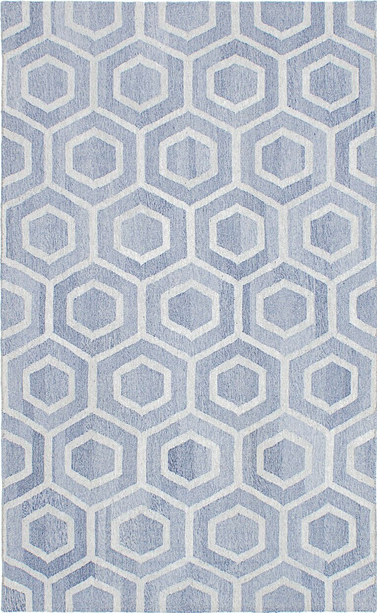 Tribeca Hand-Woven Wool Blue Area Rug Rug Size: Rectangle 5' x 8'