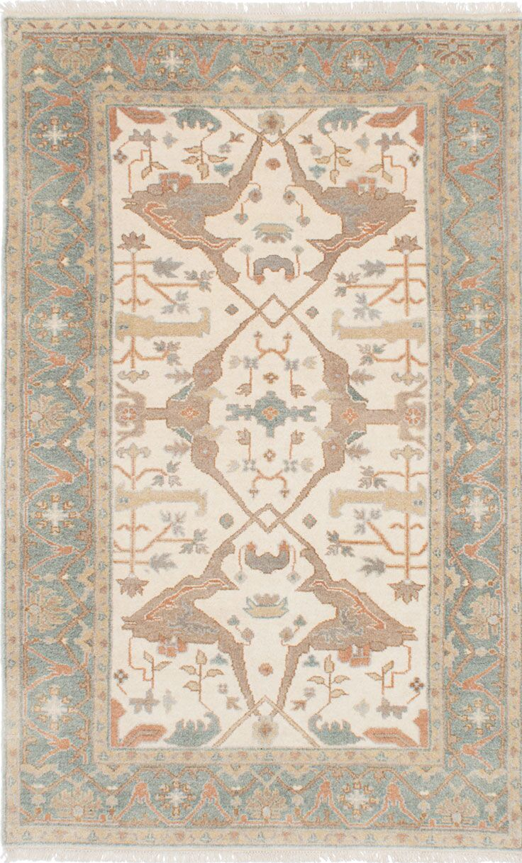 One-of-a-Kind Doggett Hand-Knotted Beige Area Rug