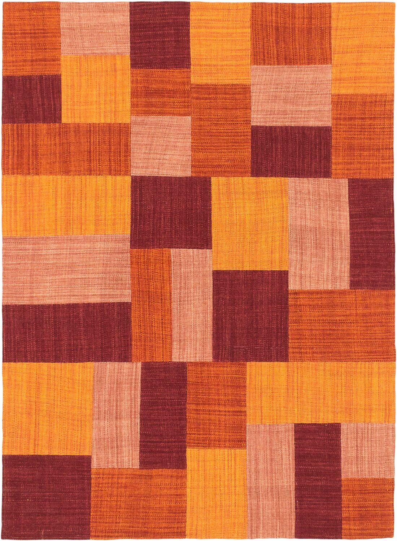 Mosaico Hand-Woven Red/Orange Area Rug