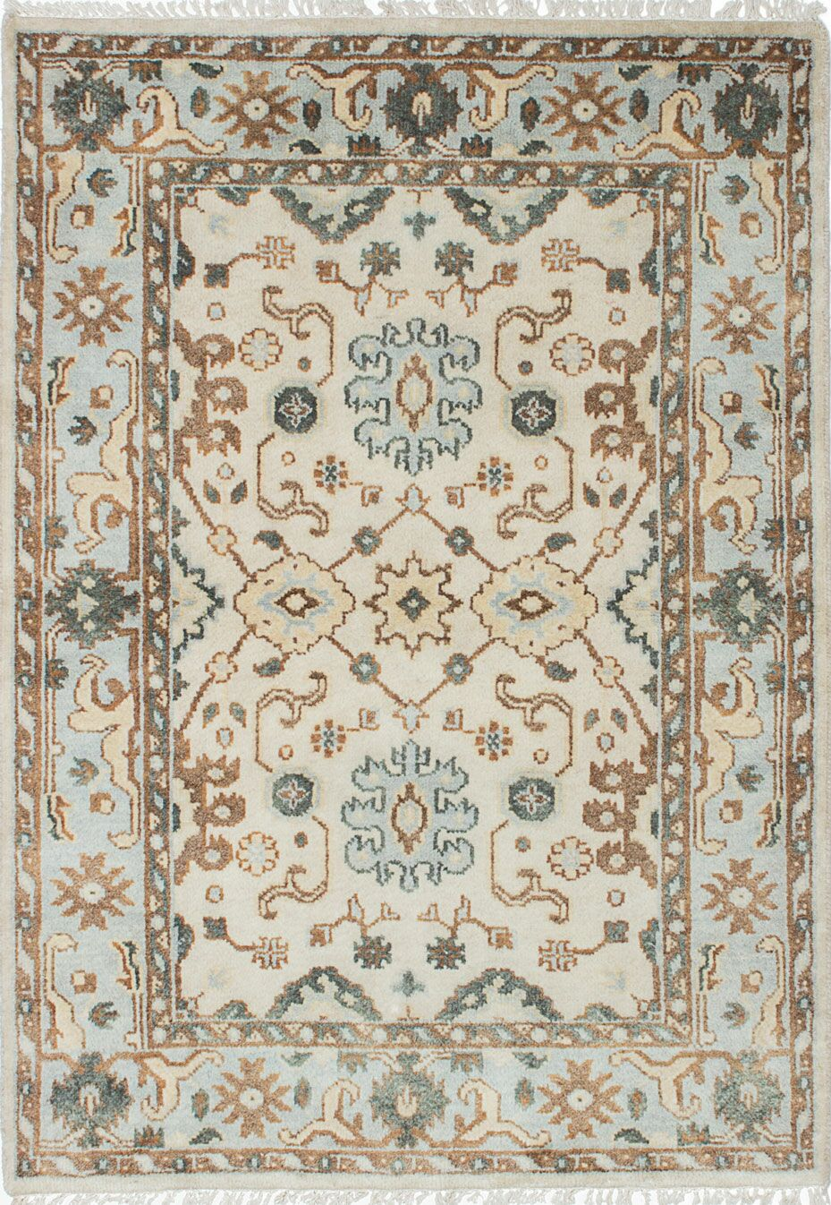 One-of-a-Kind Doggett Hand-Knotted Cream/Light Blue Area Rug