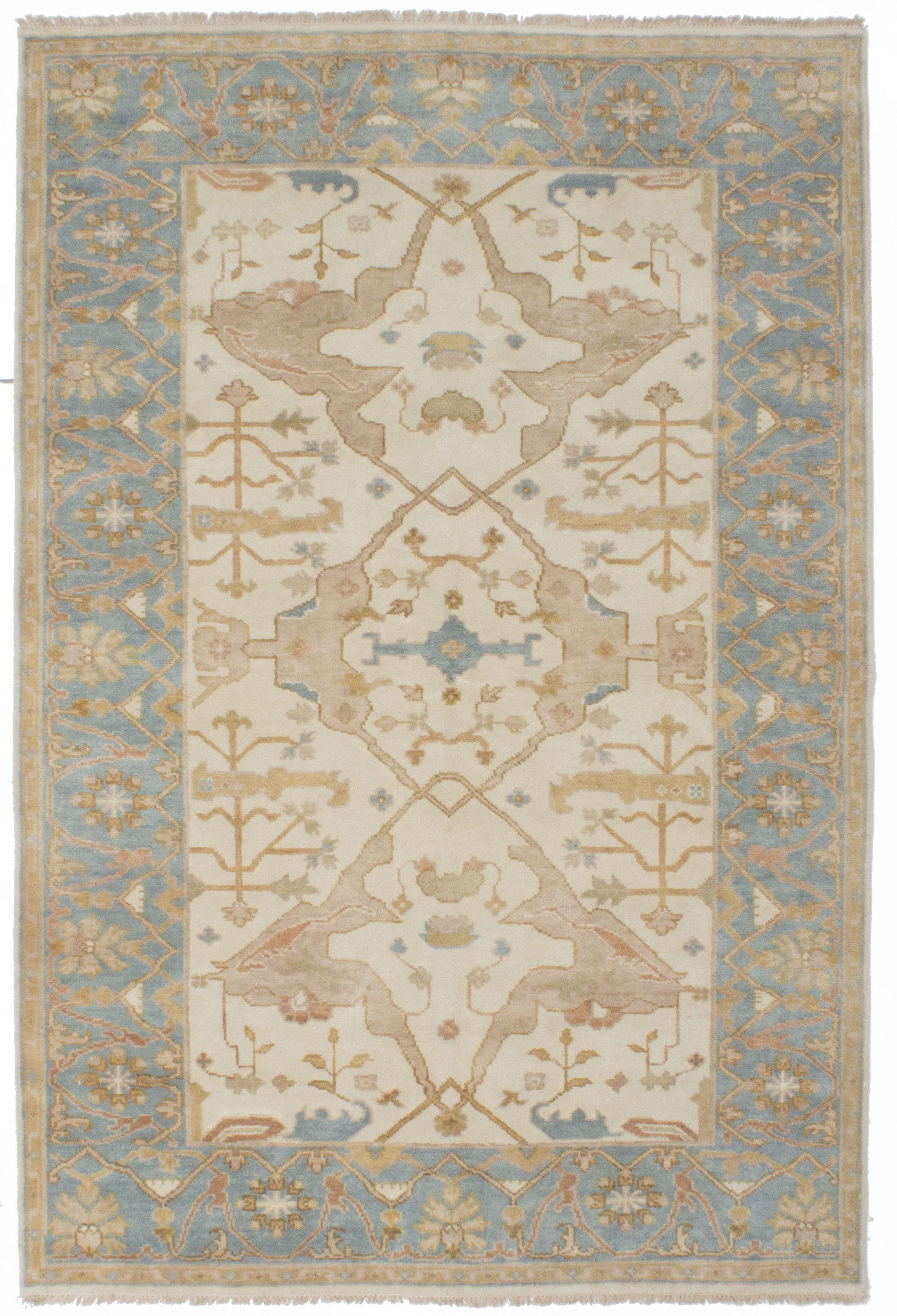 One-of-a-Kind Doggett Hand-Knotted Cream/Gray Area Rug