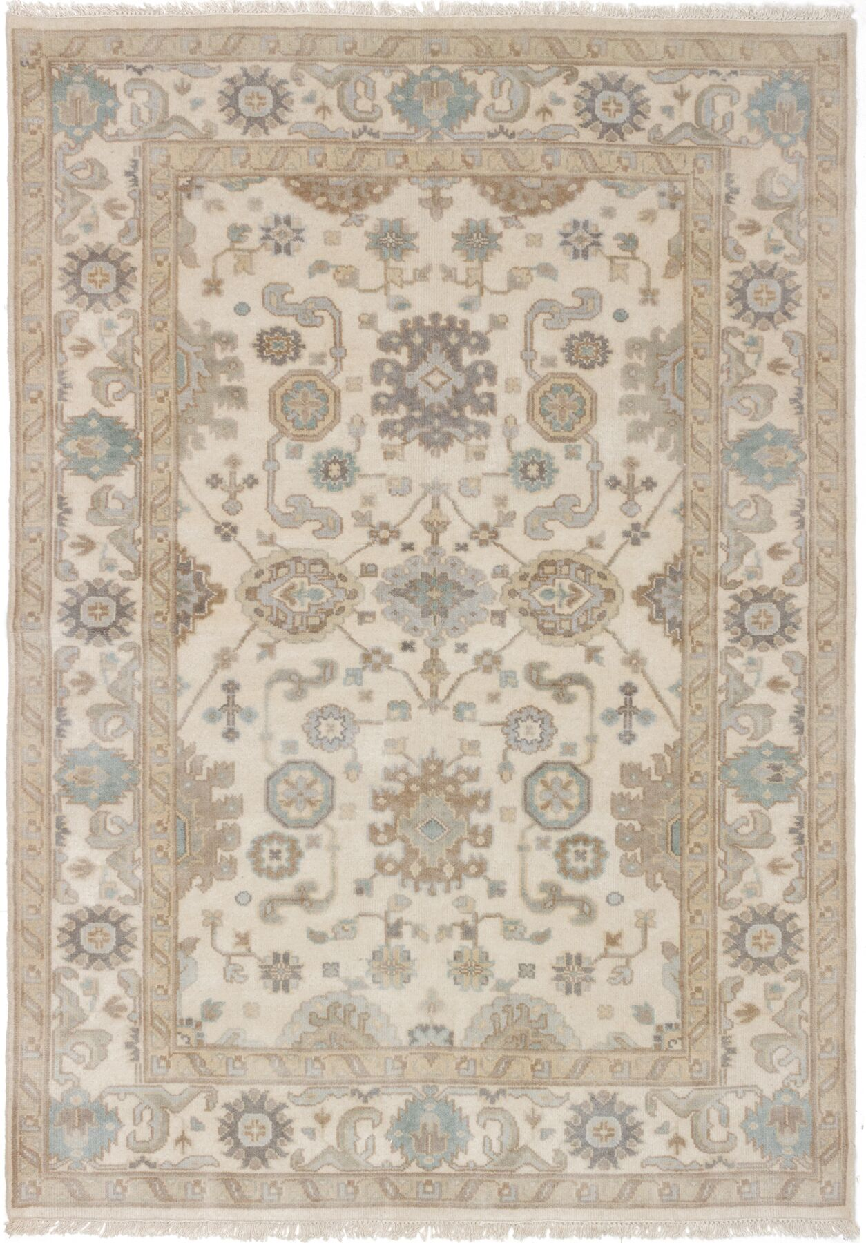 One-of-a-Kind Doggett Hand-Knotted Cream Area Rug Rug Size: 5'9
