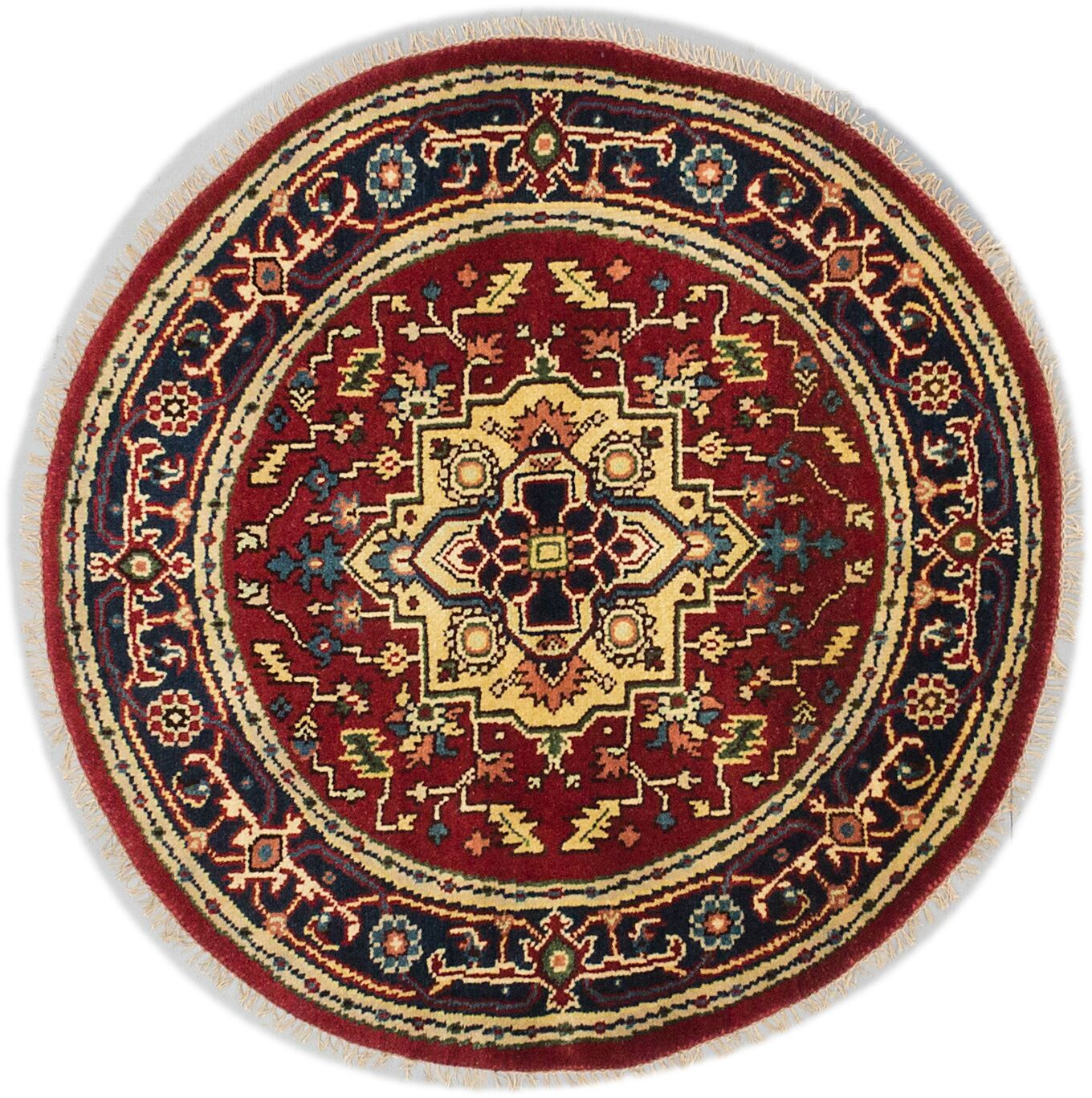 One-of-a-Kind Doerr Traditional Hand-Knotted Round Dark Copper Area Rug