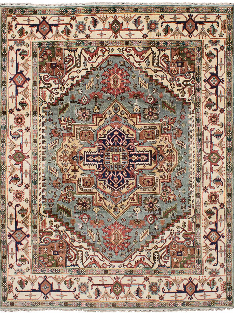 One-of-a-Kind Doerr Hand Knotted Wool Light Blue Area Rug