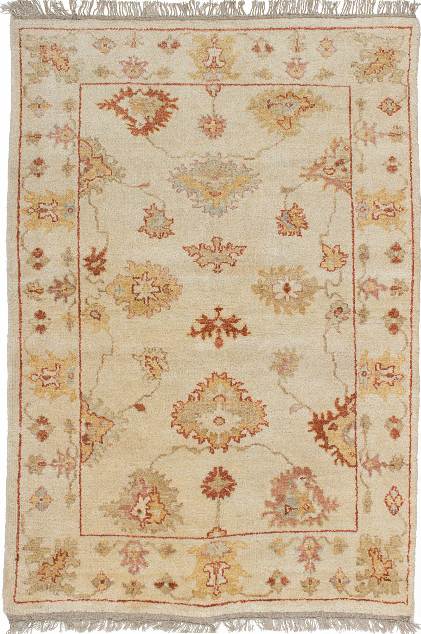 One-of-a-Kind Doggett Traditional Hand Knotted 100% Wool Cream Area Rug