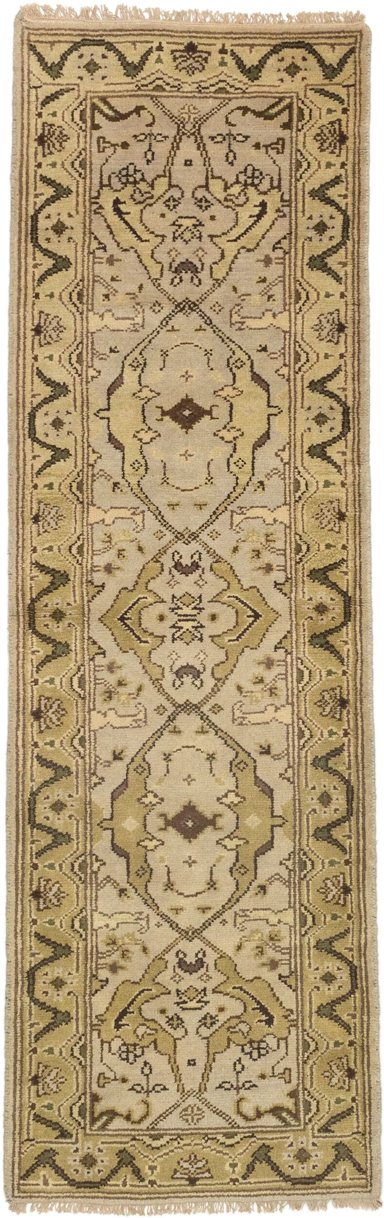 One-of-a-Kind Doggett Traditional Hand Knotted Wool Cream Area Rug