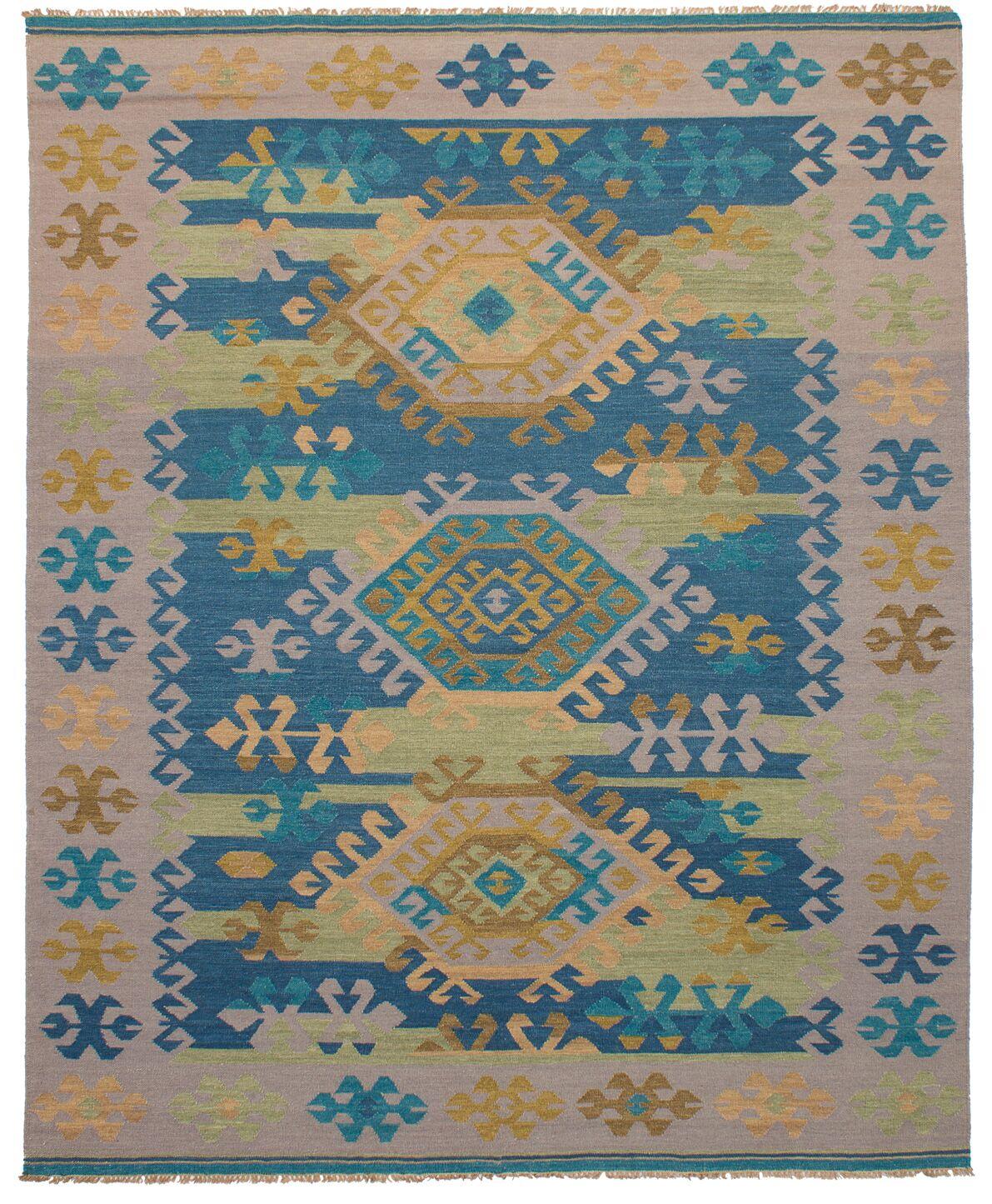 Pavlatka Kilim Hand-Woven Wool Khaki/Turquoise Area Rug Rug Size: Rectangle 8' x 10'