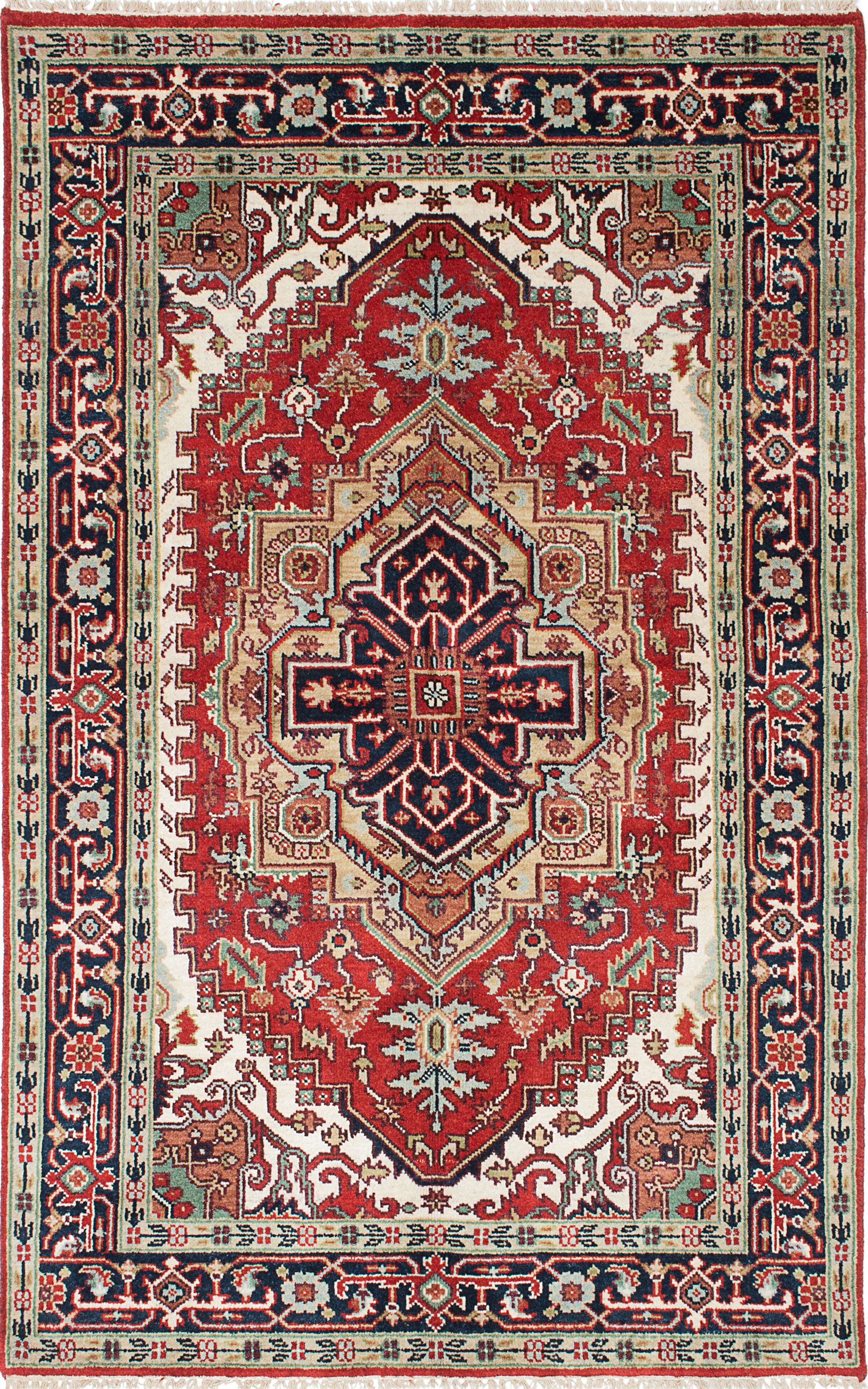 One-of-a-Kind Doerr Handmade Wool Navy Blue/Red Oriental Area Rug