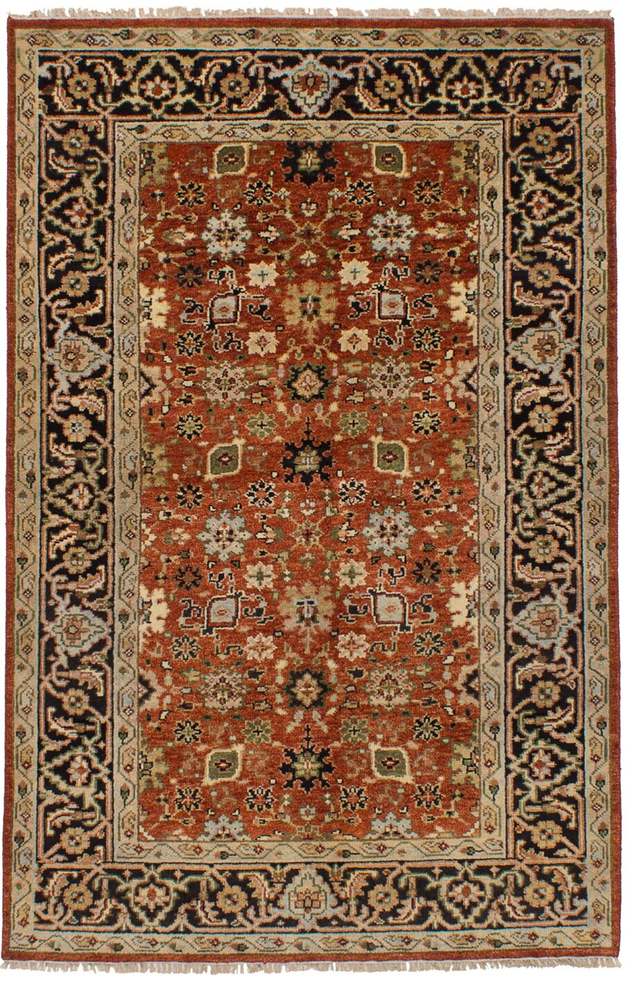 Lenita Hand-Knotted Wool Dark Copper Oriental Indoor Area Rug