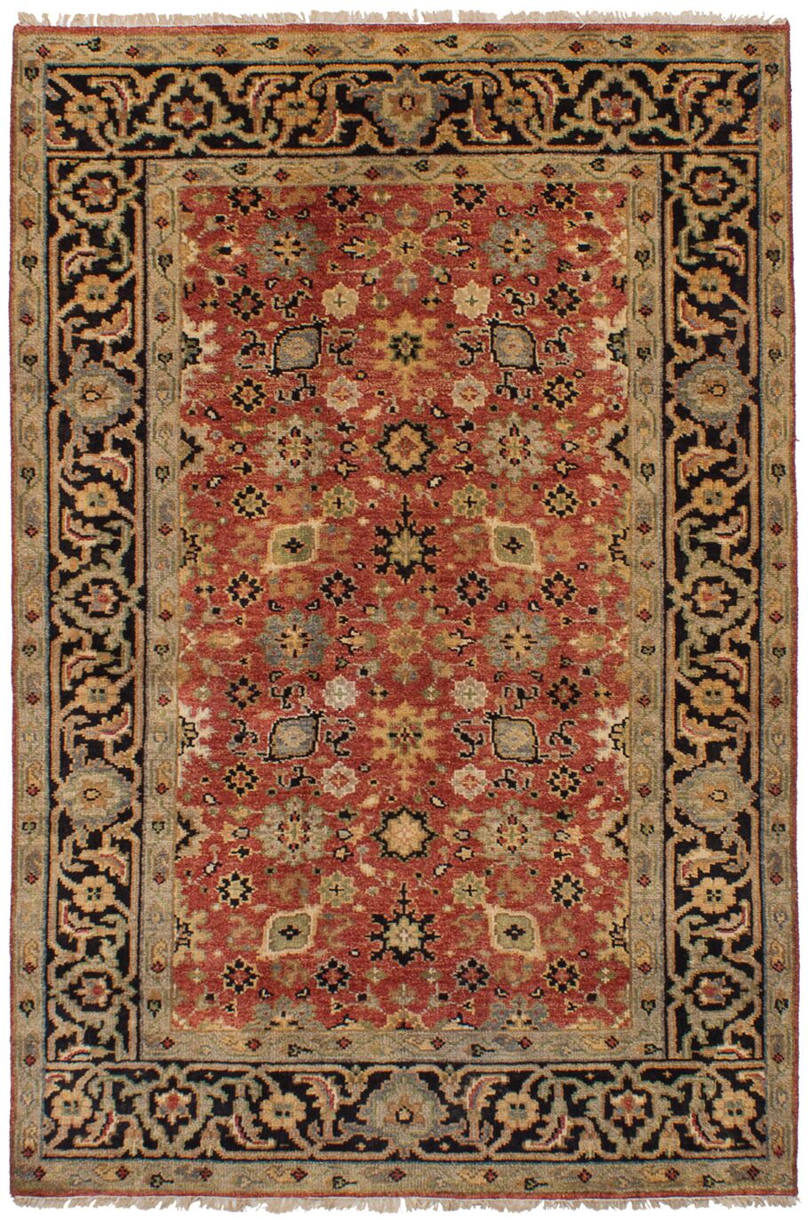 Lenita Hand-Knotted Wool Red Oriental Area Rug