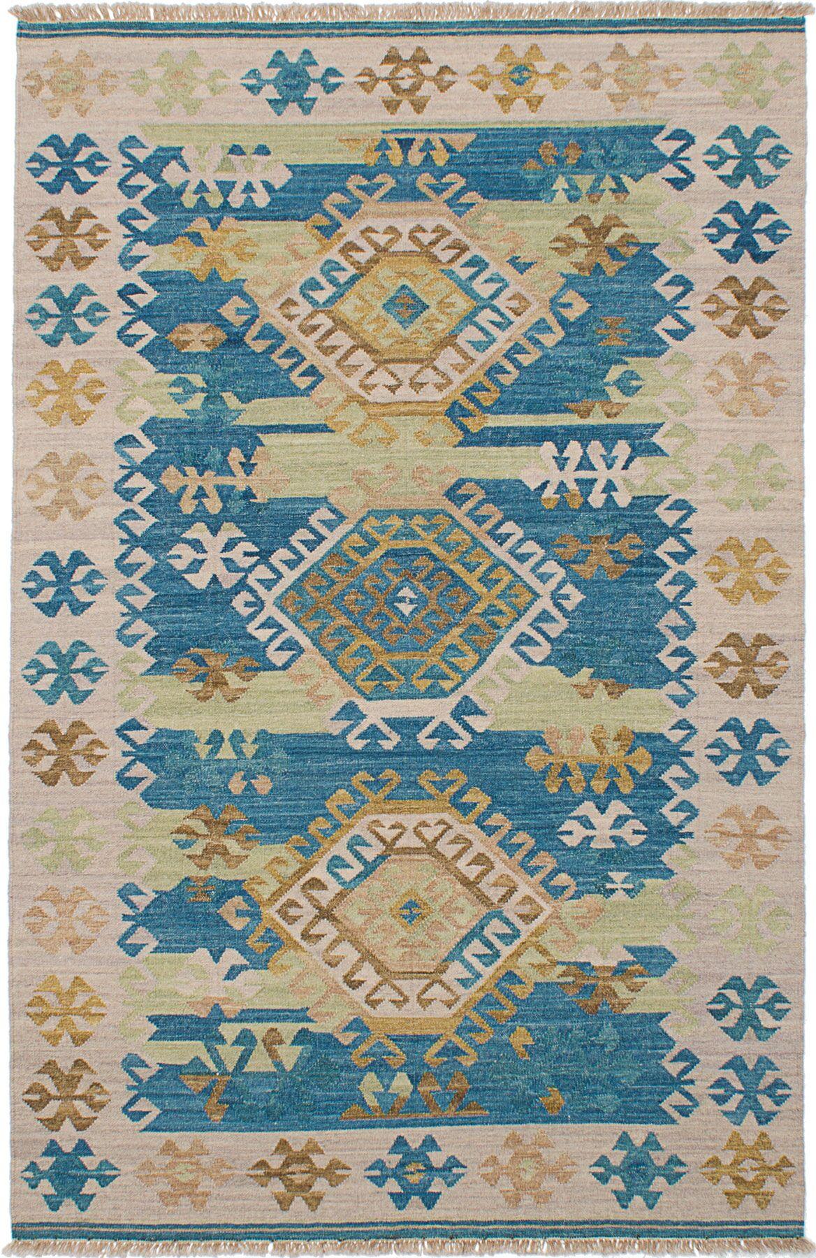 Pavlatka Kilim Hand-Woven Wool Khaki/Turquoise Area Rug Rug Size: Rectangle 5' x 8'
