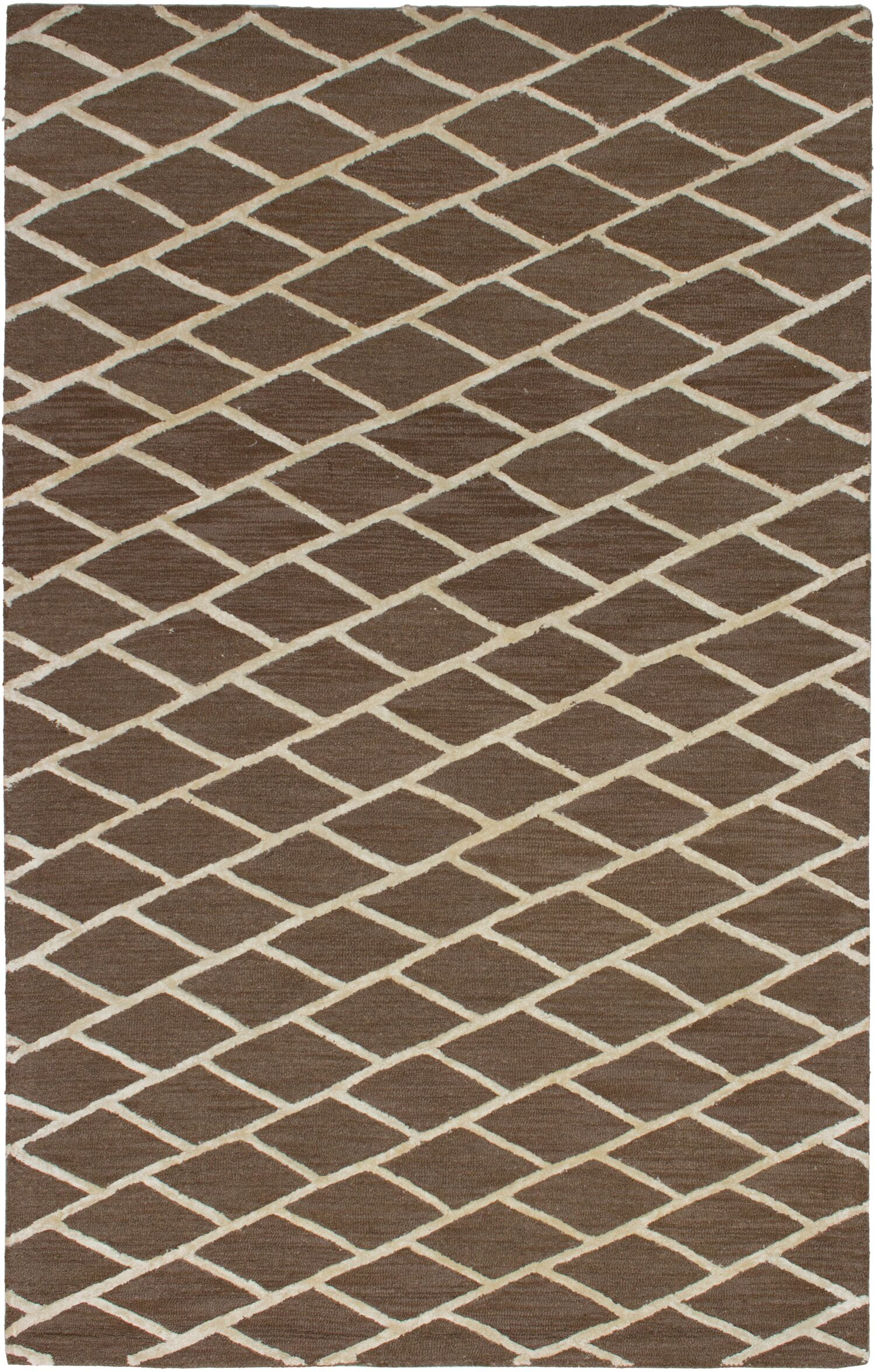 Galewood Hand-Tufted Brown Area Rug