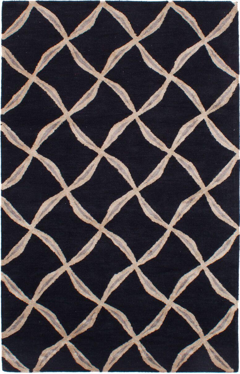 Helton Hand-Tufted Black Area Rug