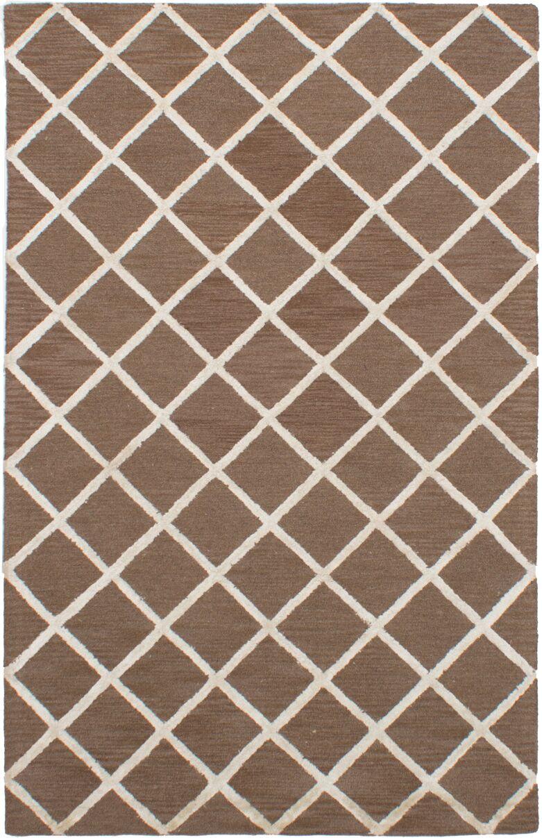 Helsley Hand-Tufted Dark Brown Area Rug