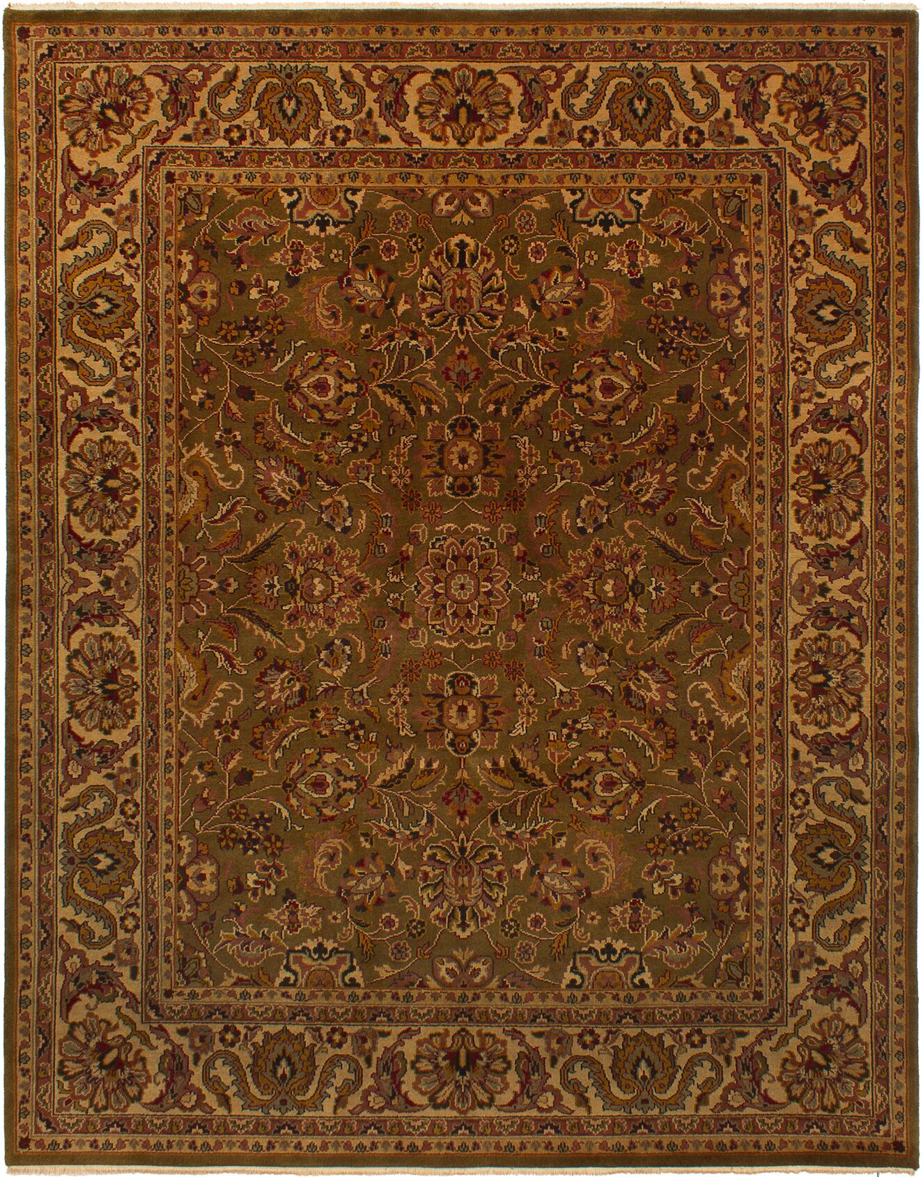 One-of-a-Kind Donley Hand-Knotted Wool Dark Olive Green Area Rug