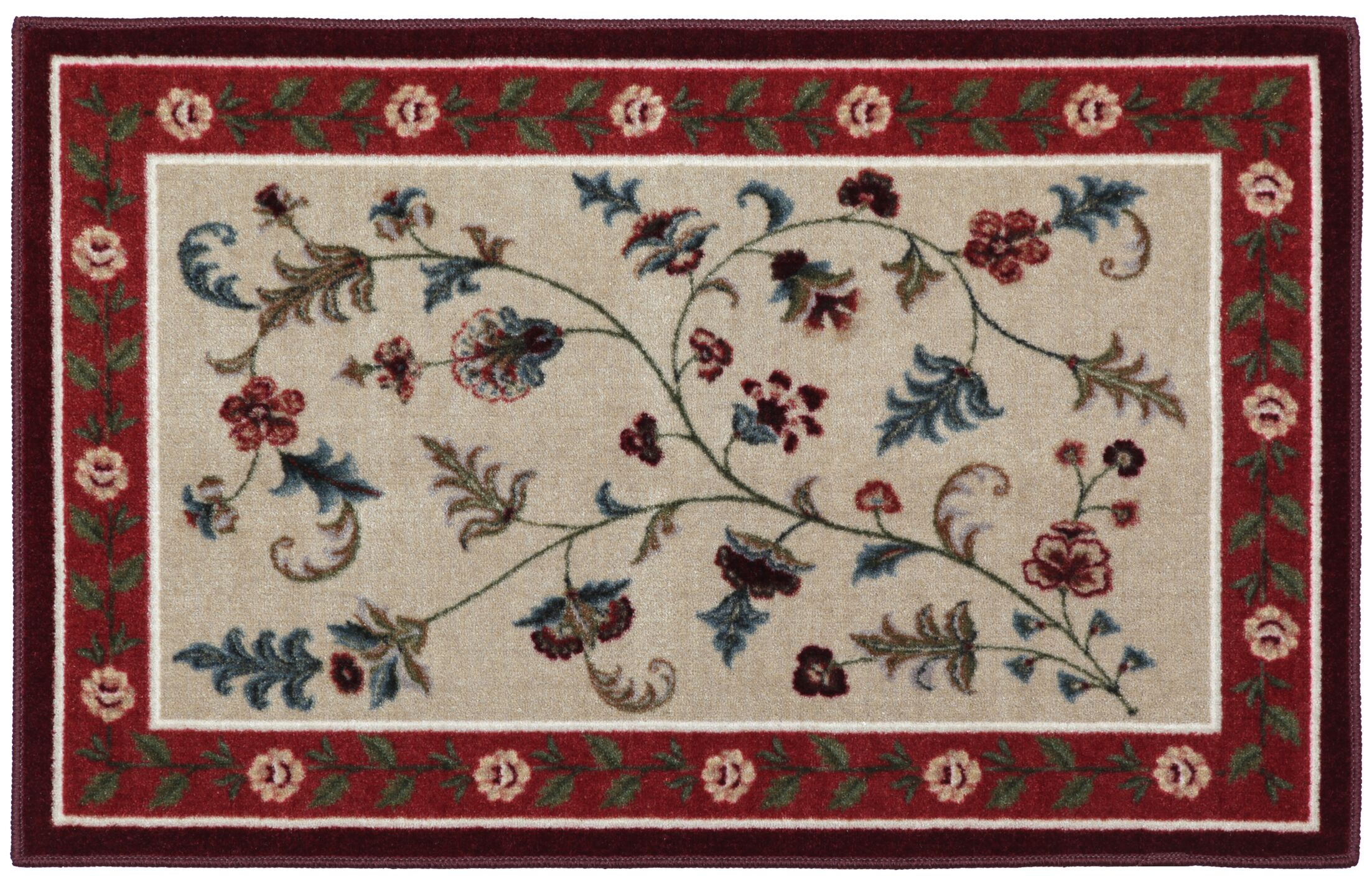 Farrah Rich Red/Beige Area Rug Rug Size: Rectangle 8' x 10'