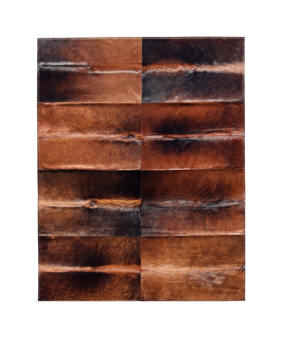 Patchwork Cowhide Oak Cognac Brown Area Rug Rug Size: 9' x 12'