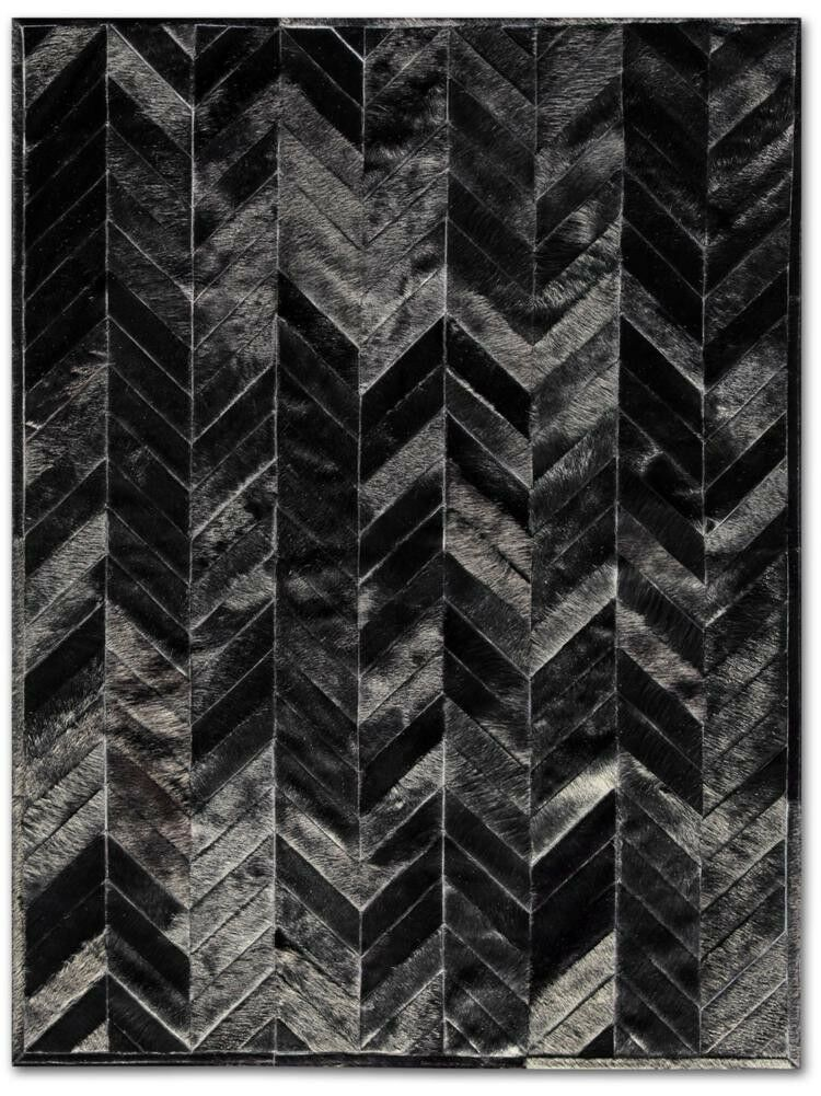 Patchwork Cowhide Yves Black Area Rug Rug Size: Round 8'