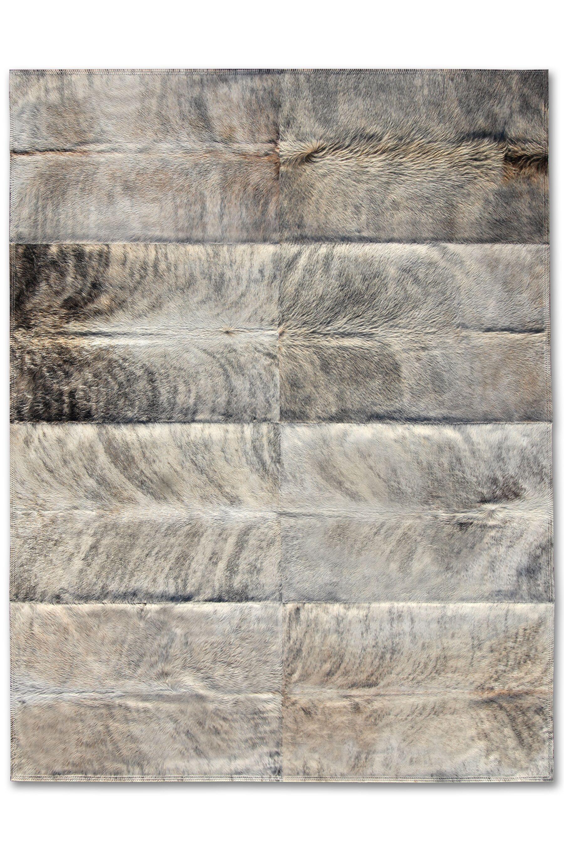 Patchwork Cowhide Zebu Grey Area Rug Rug Size: 6' x 8'