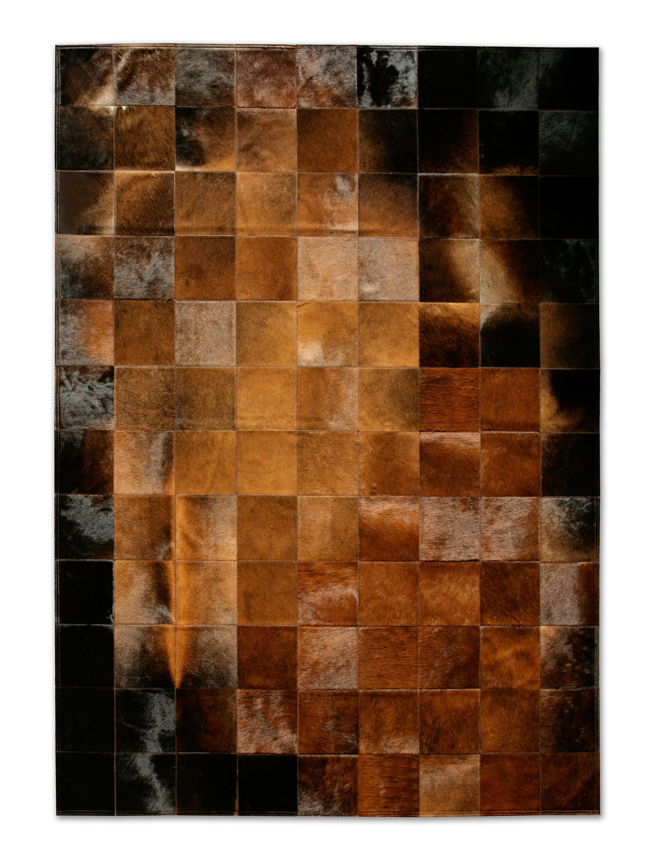 Patchwork Cowhide Park Normand Brown/Black Area Rug Rug Size: Rectangle 6' x 8'