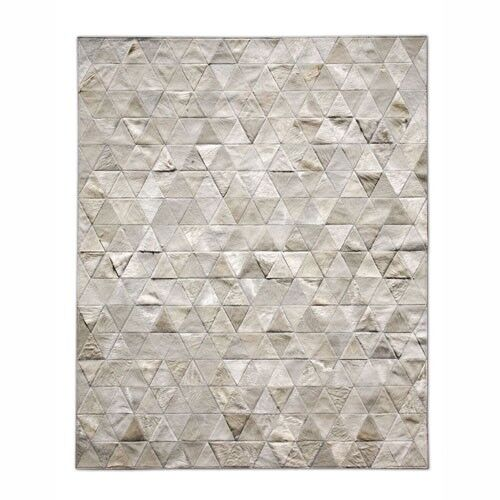 Patchwork Cowhide Kahn Ivory Area Rug Rug Size: Round 8'
