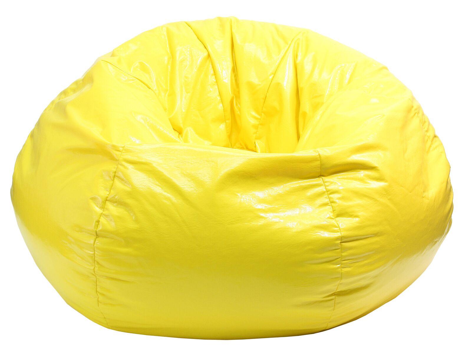 Wet Look Bean Bag Chair Upholstery: Yellow