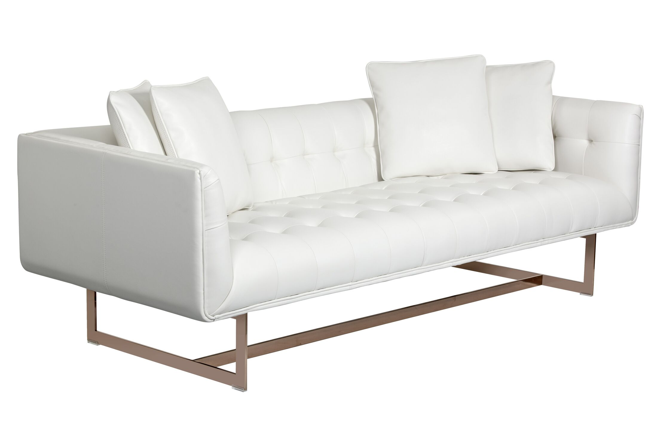 Club Leather Chesterfield Sofa Upholstery: White