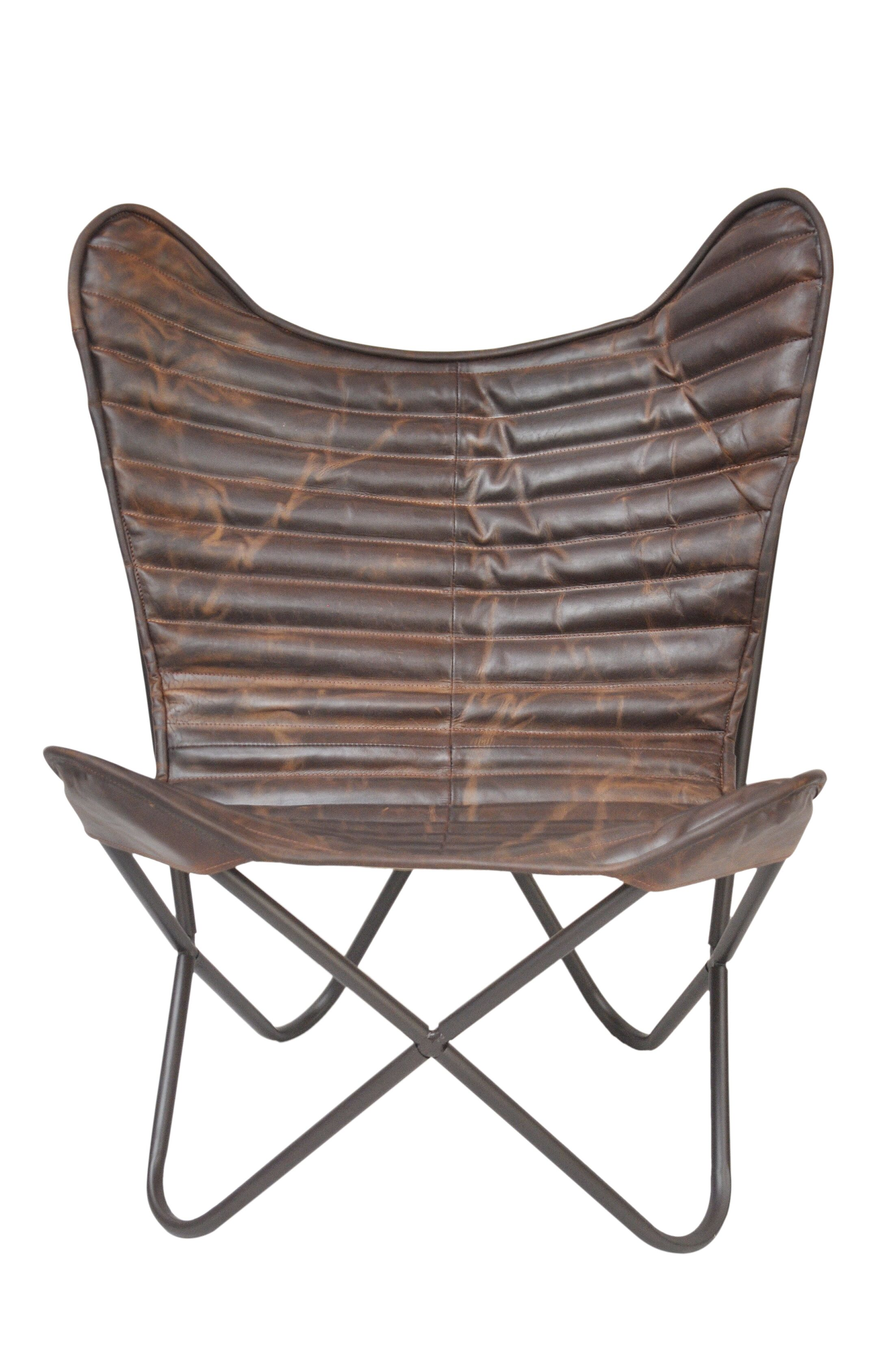 Sidney Cocoa Ribbed Wing Leather Chair