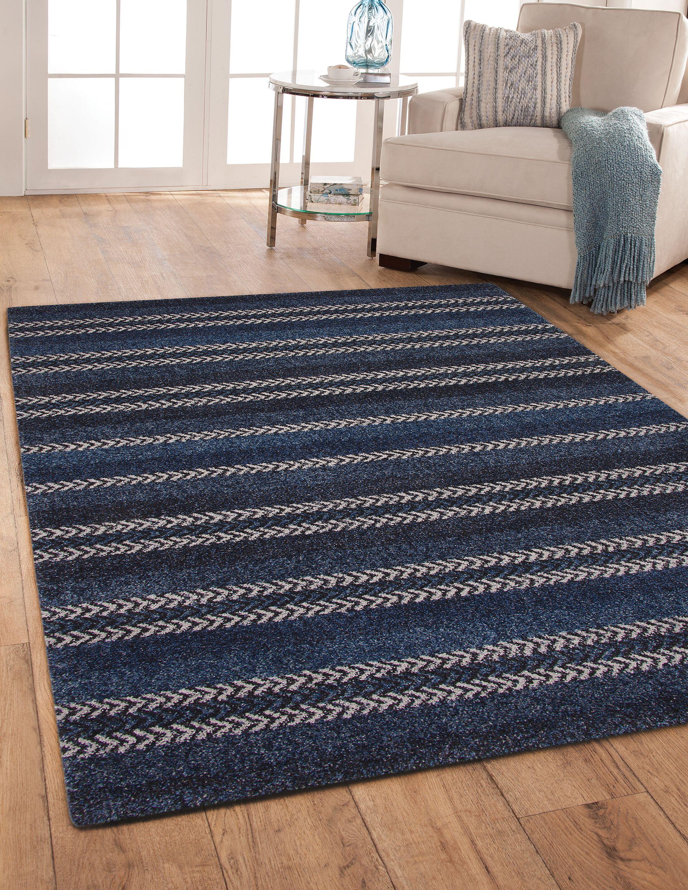 Adamsburg Blue/Black Area Rug Rug Size: Rectangle 5' x 8'
