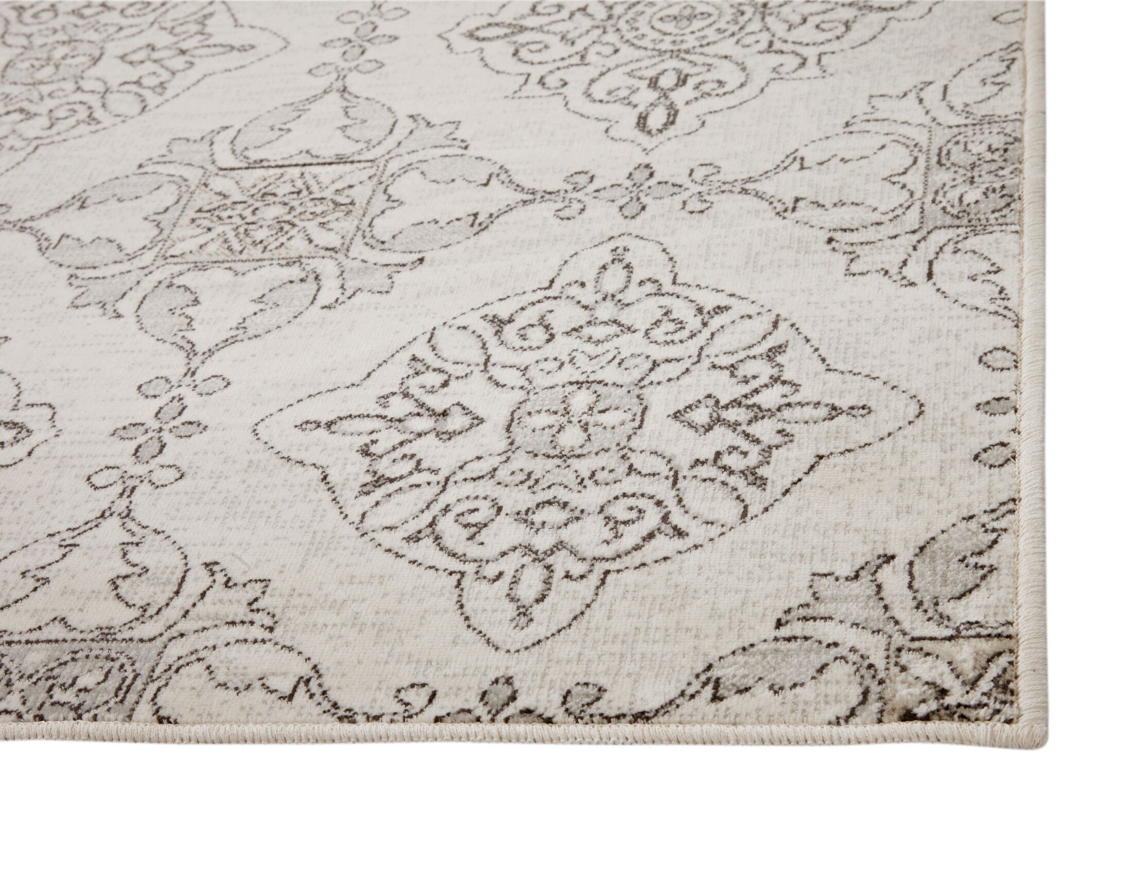 Beecroft Machine Woven Synthetic Ivory/Gray Indoor Area Rug Rug Size: Rectangle 8' x 10'