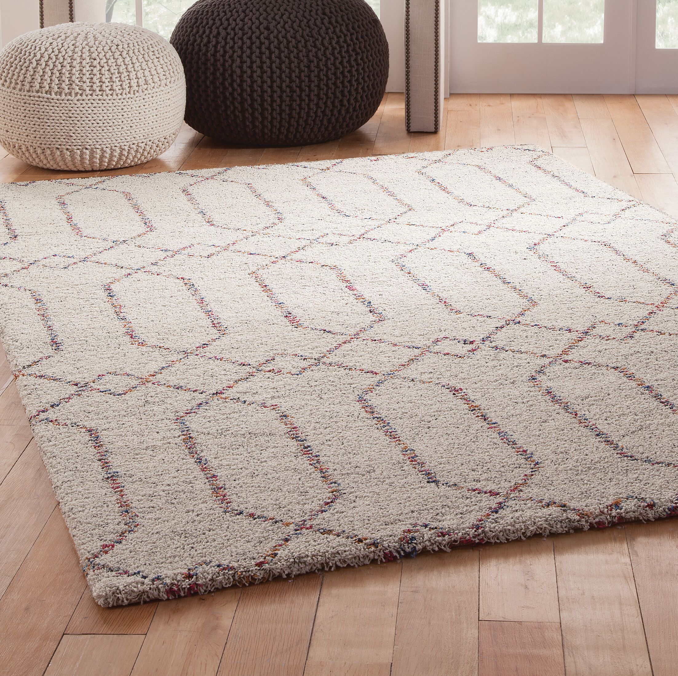 Teasley Shag/Flokati Synthetic Ivory/Red Indoor Area Rug Rug Size: Rectangle 8' x 10'