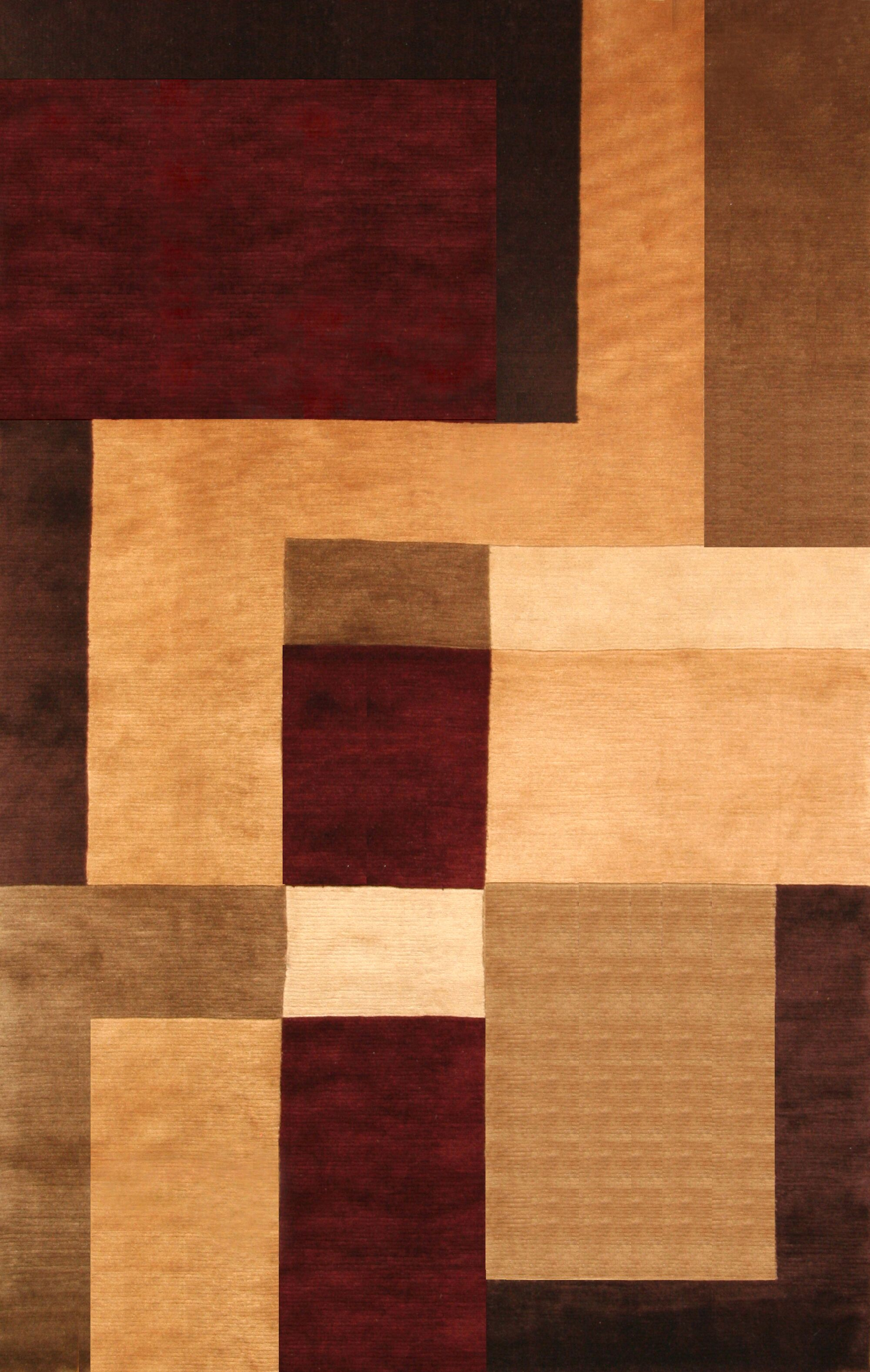 Mystic Hand-Knotted Gold/Brown Area Rug Rug Size: 5' x 8'