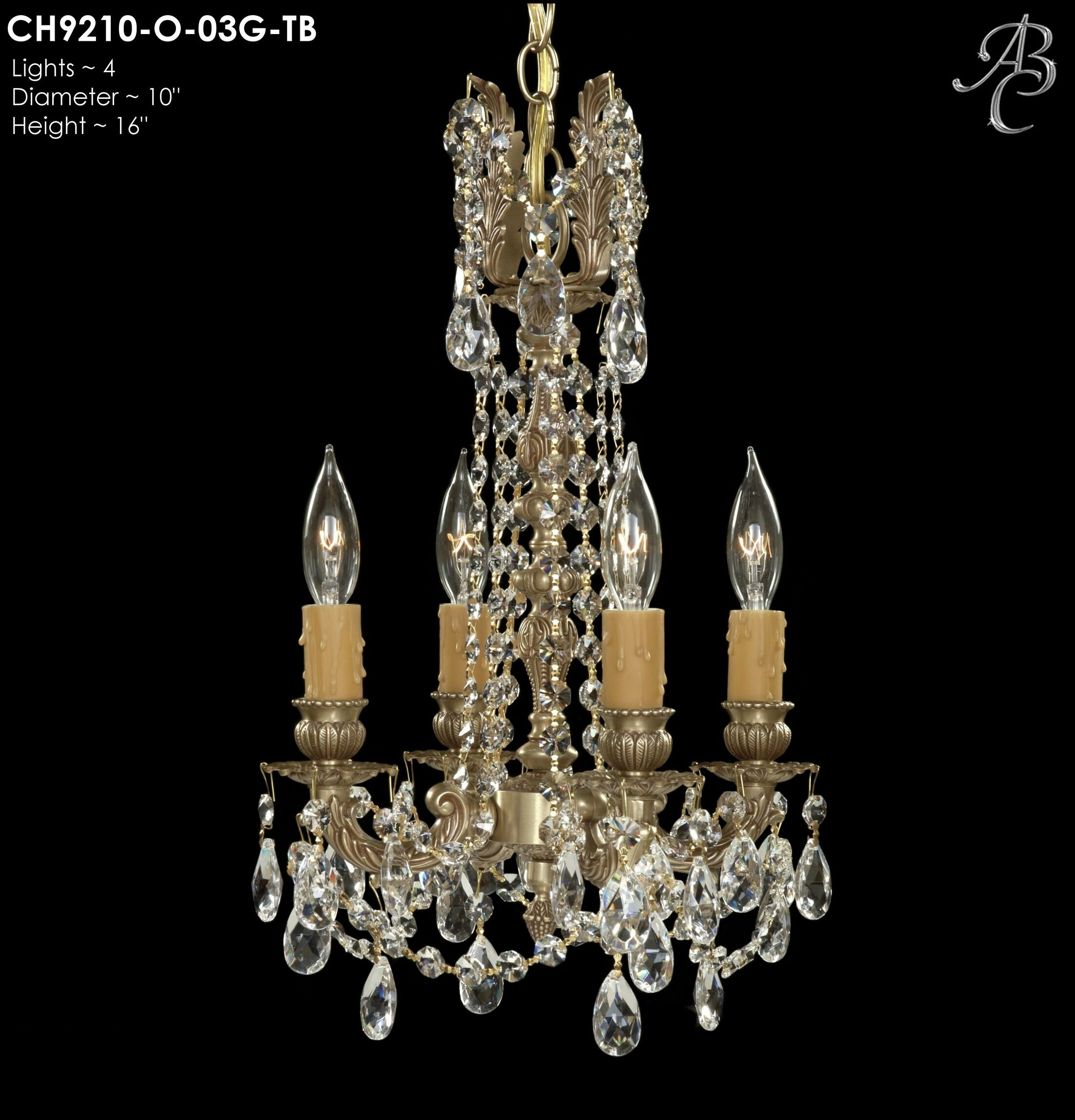 Biella 4-Light Candle Style Chandelier Crystal: Precision Crystal French Pendaloque Clear, Finish: Empire Bronze