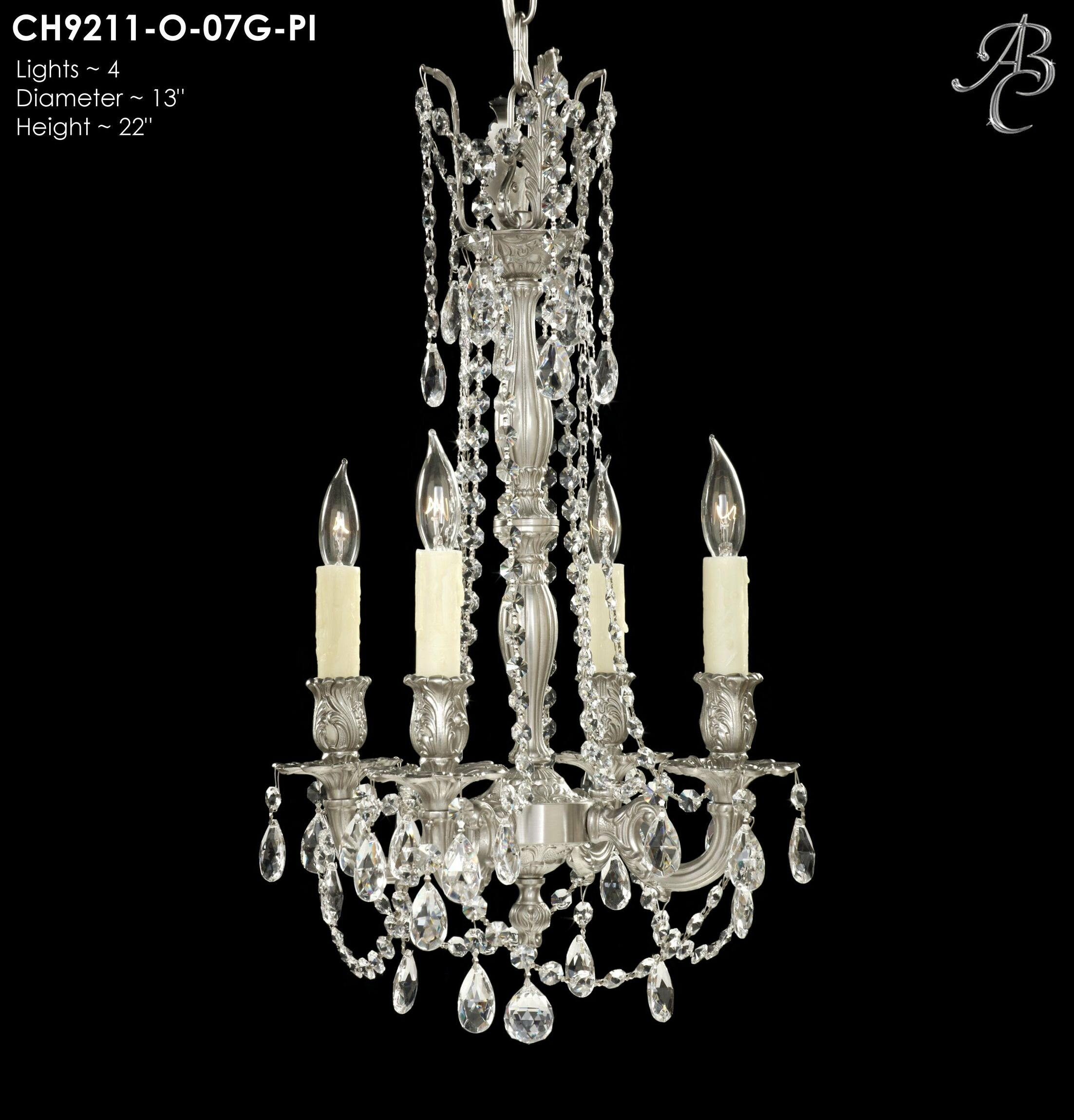 Biella 4-Light Candle Style Chandelier Crystal: Precision Crystal French Pendaloque Clear, Finish: Aged Bronze Semi Gloss