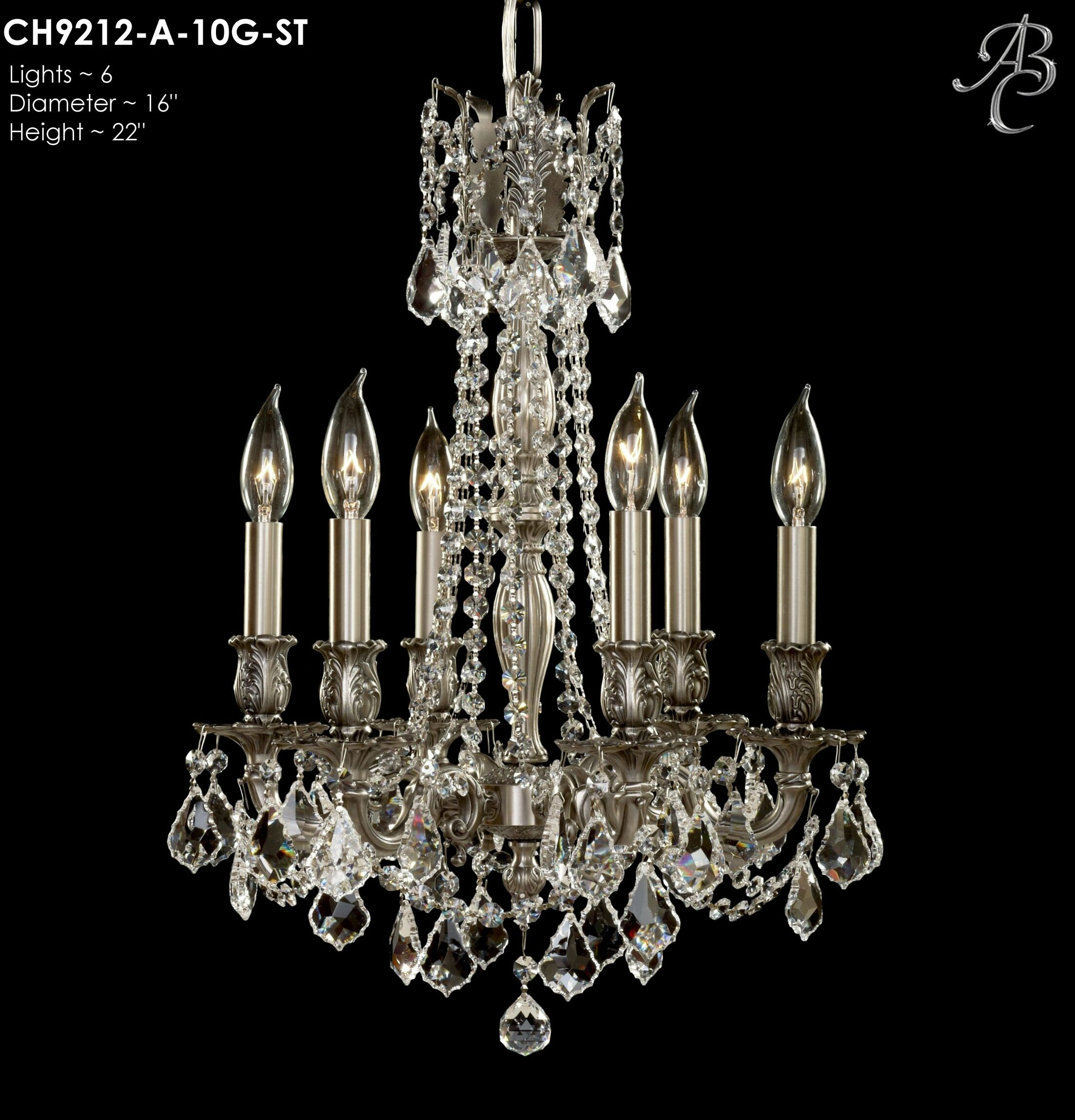 Biella 6-Light Candle Style Chandelier Crystal: Precision Crystal Oval Clear, Finish: True Brass
