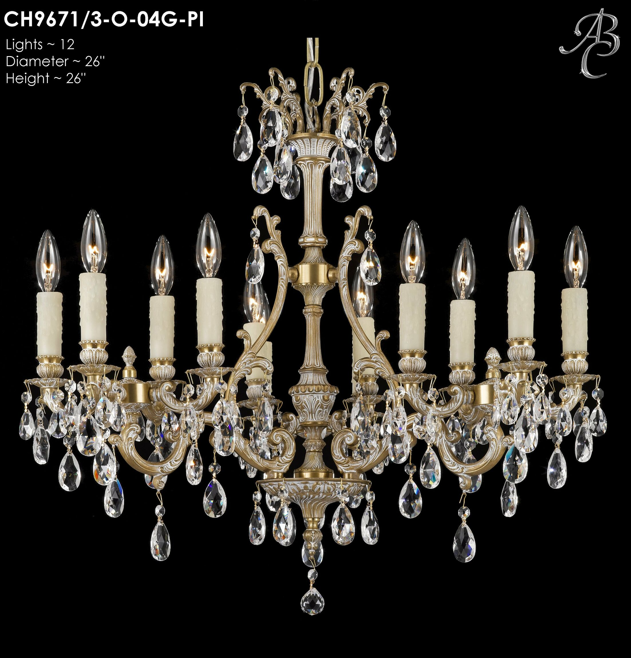 Chateau 12-Light Candle Style Chandelier Crystal: Precision Crystal French Pendaloque Clear, Finish: Old Bronze Semi Gloss