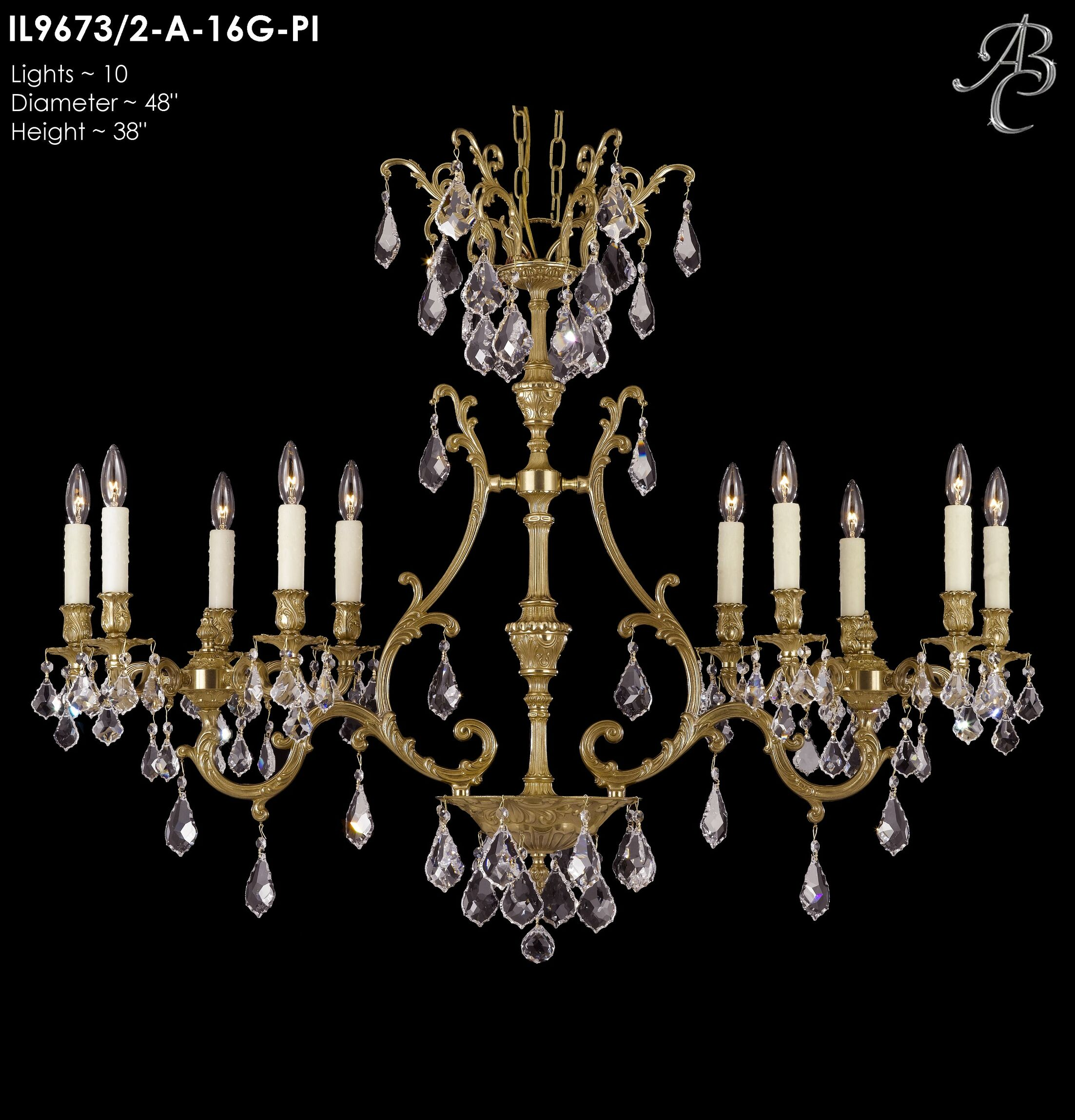 Chateau 10-Light Candle Style Chandelier Crystal: Precision Crystal Oval Clear, Finish: Polished Brass with Umber Inlay