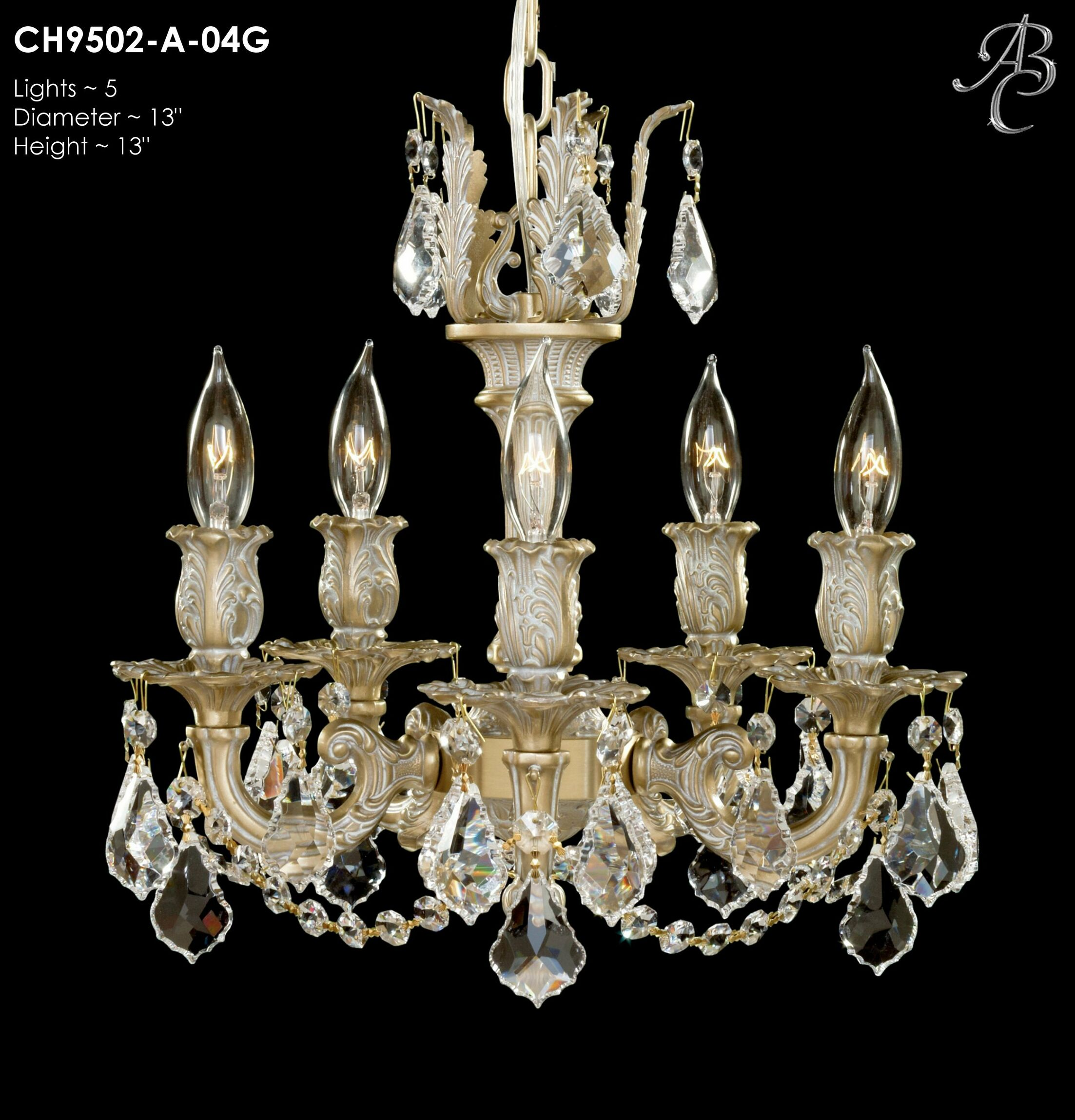 Rosetta 5-Light Candle Style Chandelier Crystal: Precision Crystal French Pendaloque Clear, Finish: True Brass