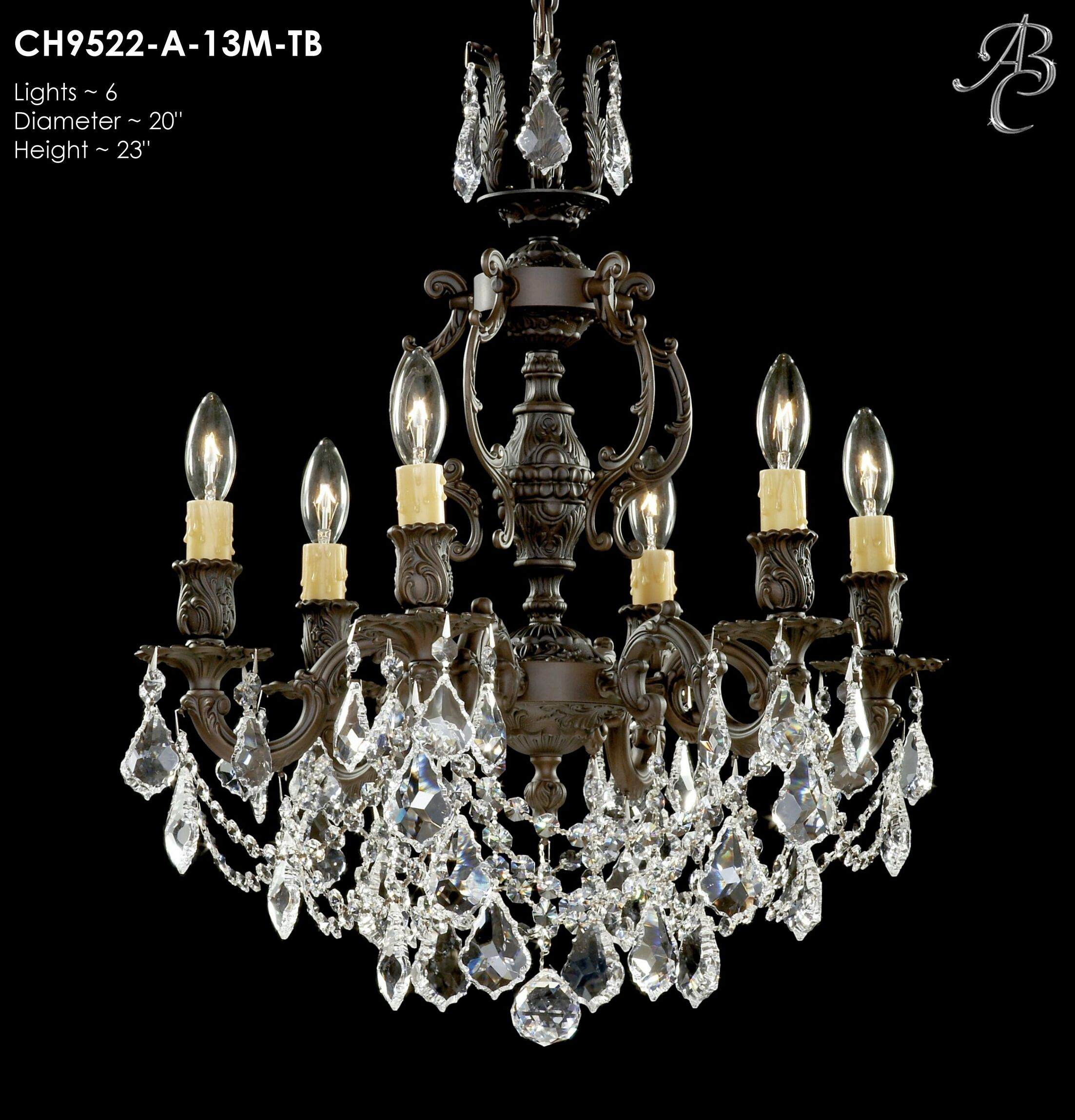 Rosetta 6-Light Candle Style Chandelier Finish: Polished Brass with Umber Inlay, Crystal: Precision Crystal French Pendaloque Clear