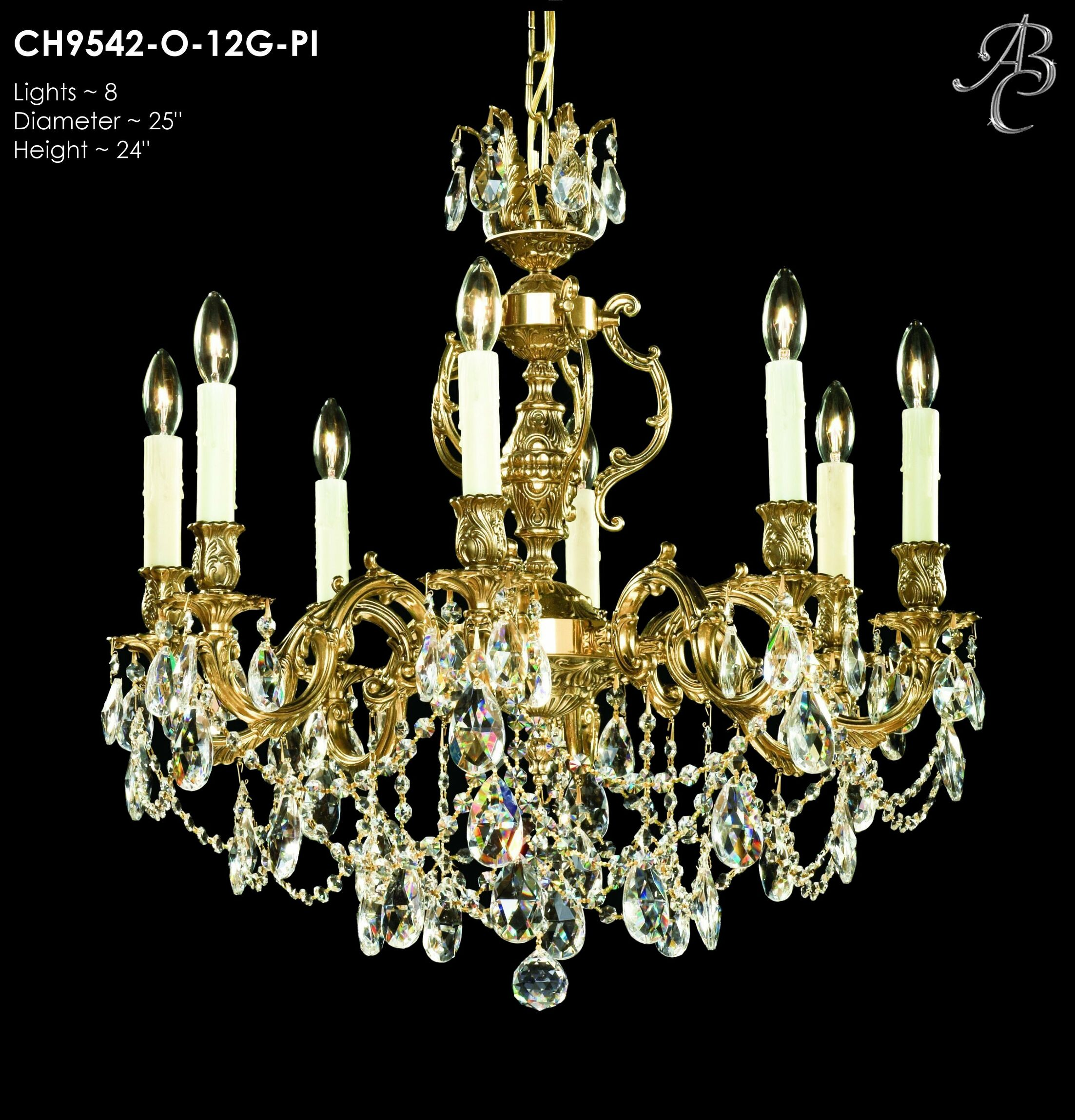 Rosetta 8-Light Candle Style Chandelier Finish: Palace Bronze, Crystal: Precision Crystal Oval Clear