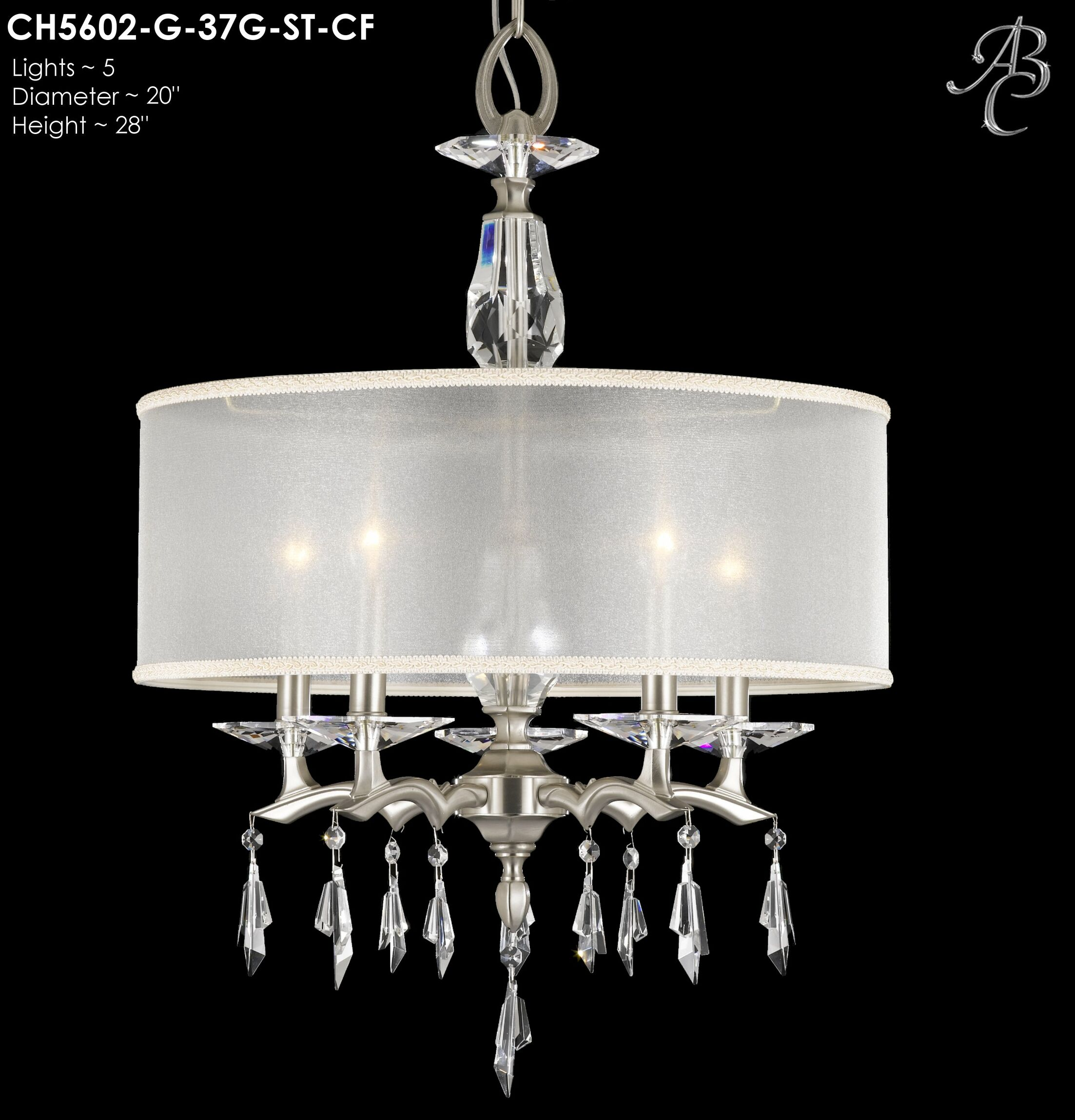 Kaya 5-Light Chandelier Finish: Pewter, Shade Color: Crystal Frost Hardback