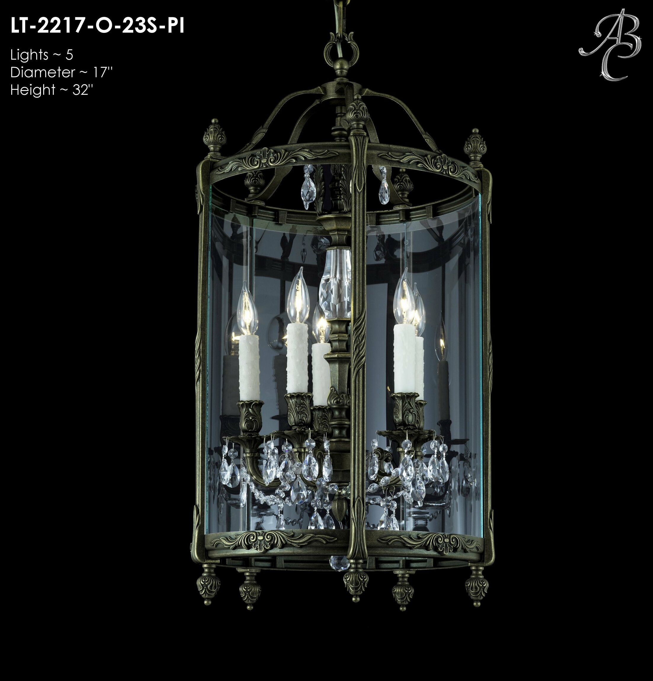 Lantern 5-Light Foyer Pendant Crystal: Precision Crystal French Pendaloque Clear, Finish: Old Bronze Semi Gloss