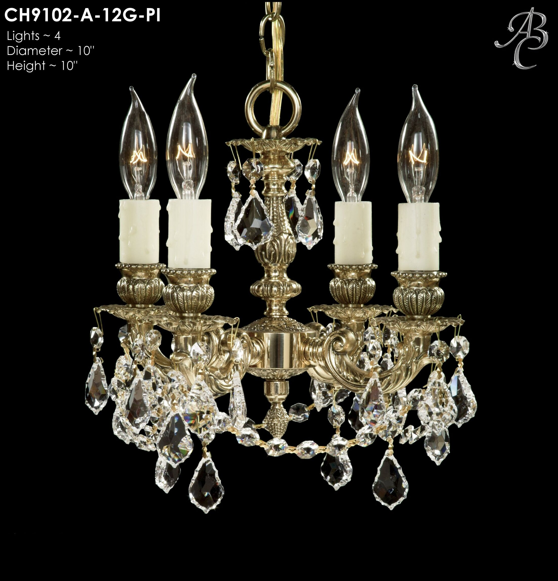 Biella 4-Light Candle Style Chandelier Crystal: Precision Crystal French Pendaloque Clear, Finish: Antique White Glossy