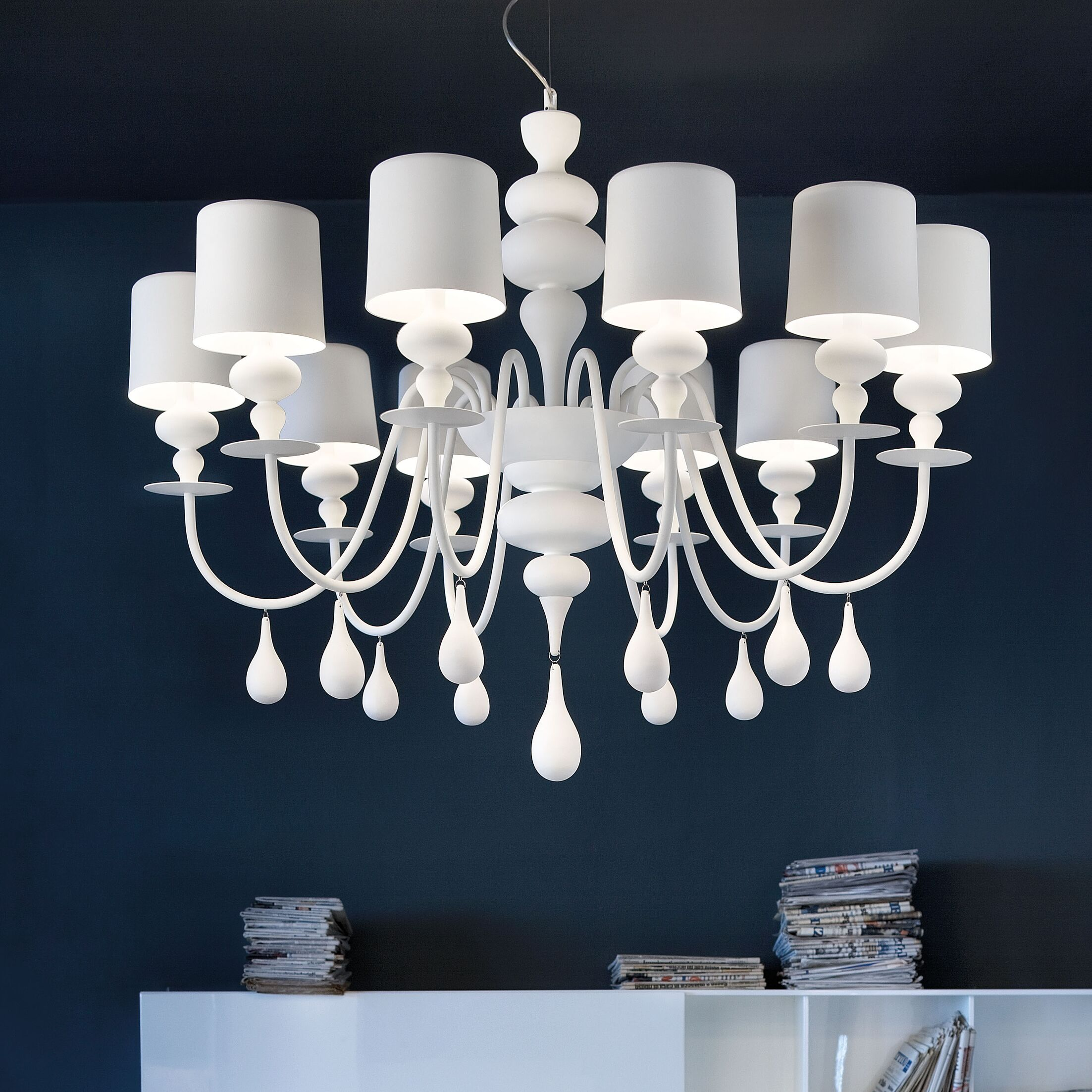 Eva 10-Light Shaded Chandelier Finish: Gloss Black