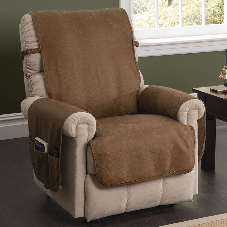 Box Cushion Recliner Slipcover Color: Cognac