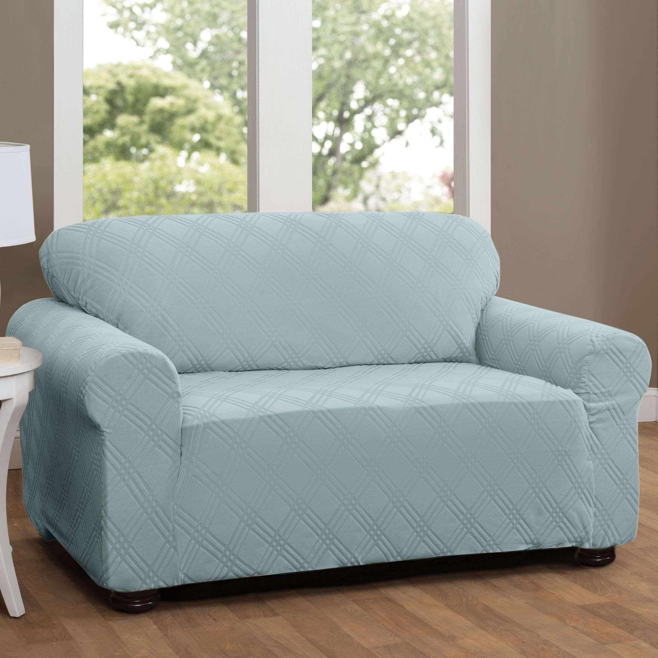 Double Diamond Sensations Box Cushion Sofa Slipcover Upholstery: Spa Blue