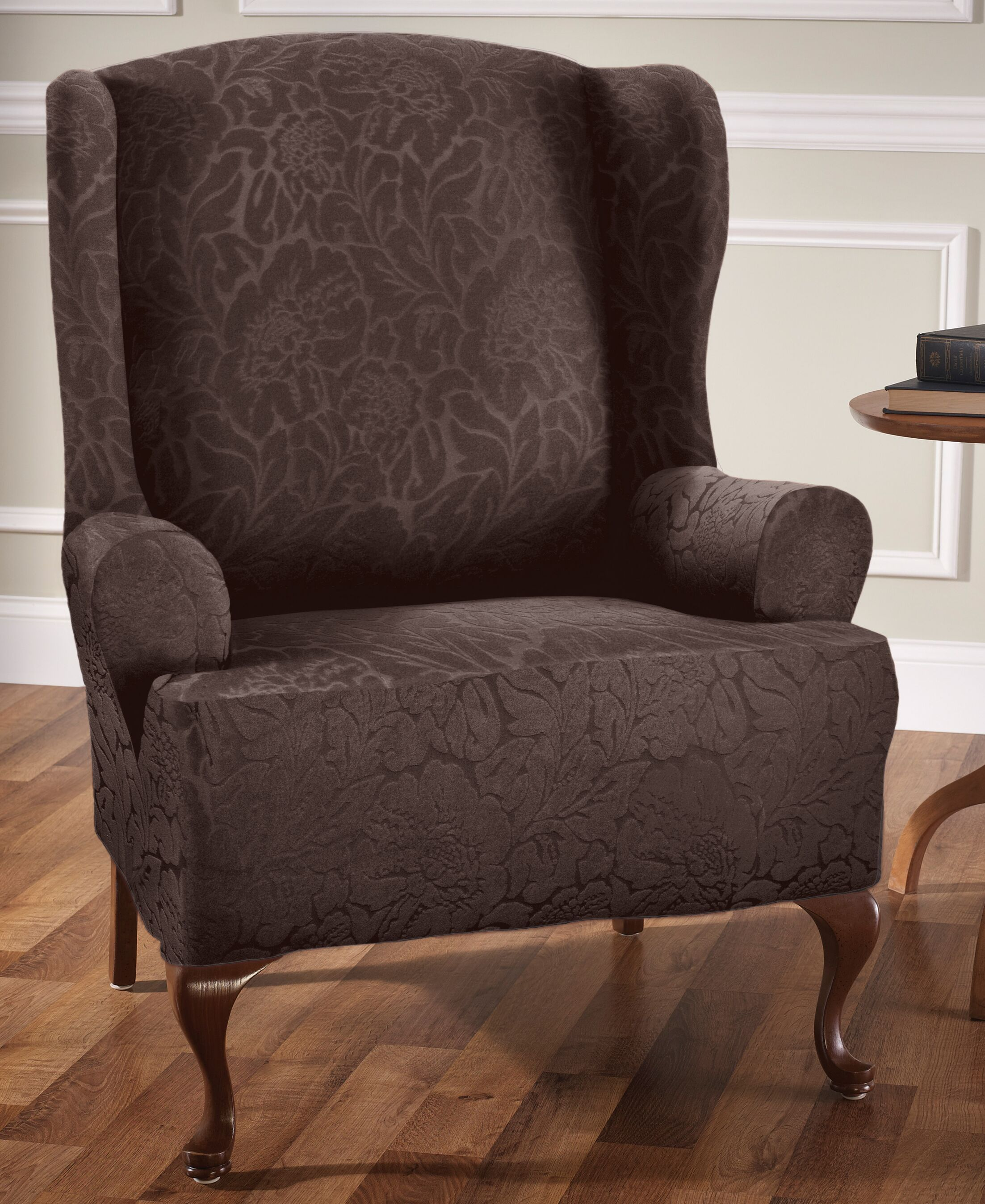 T-Cushion Wingback Slipcover Upholstery: Chocolate